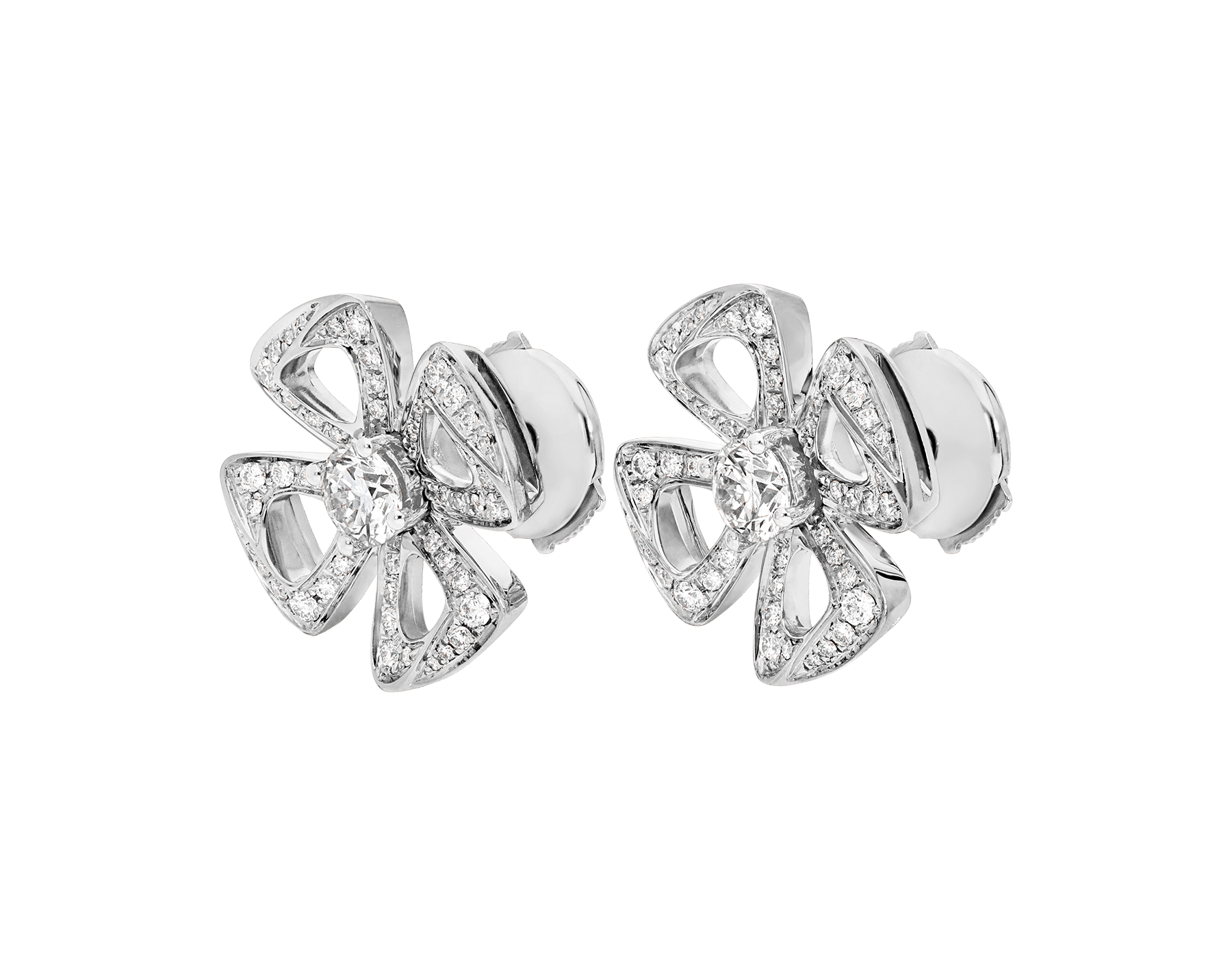 Fiorever 18 kt white gold earrings set with two central diamonds (0.20 ct each) and pavé diamonds (0.33 ct) 354502 image 2