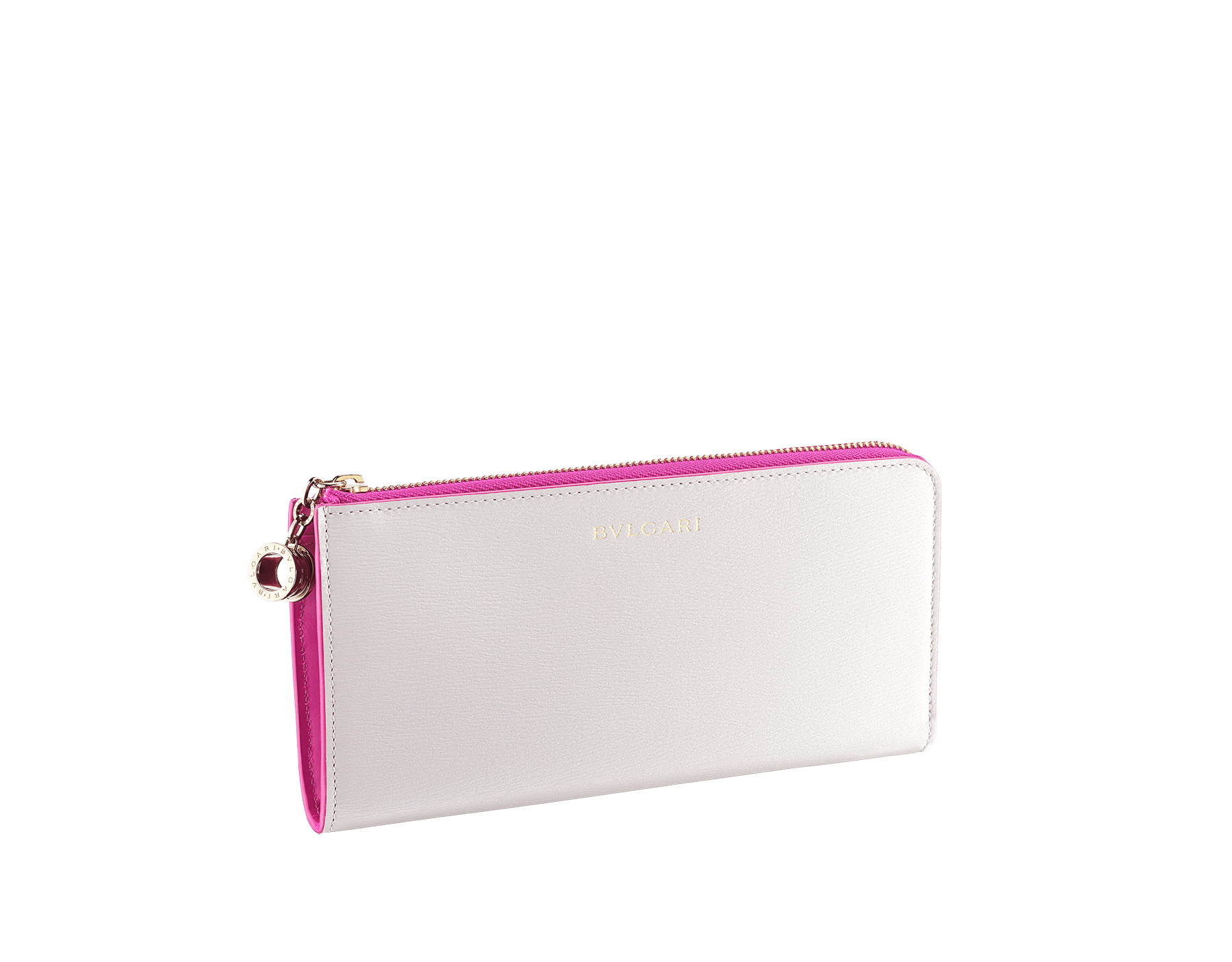"""B.zero1"" large L-shaped zipped wallet in white agate and berry tourmaline goatskin and berry tourmaline calf leather. Iconic B.zero1 zip puller in light gold-plated brass. 289785 image 1"