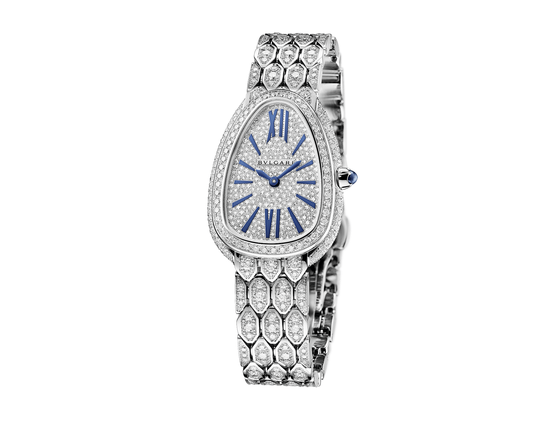 Serpenti Seduttori watch with 18 kt white gold case and bracelet both set with diamonds, full pavé dial and blue hands and indexes 103159 image 2