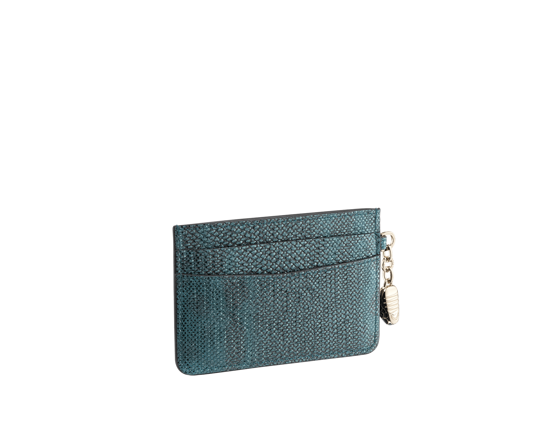 Serpenti Forever credit card holder in deep jade metallic karung skin and deep jade calf leather. Iconic snakehead charm in black and glitter deep jade enamel, with black enamel eyes. 288081 image 2