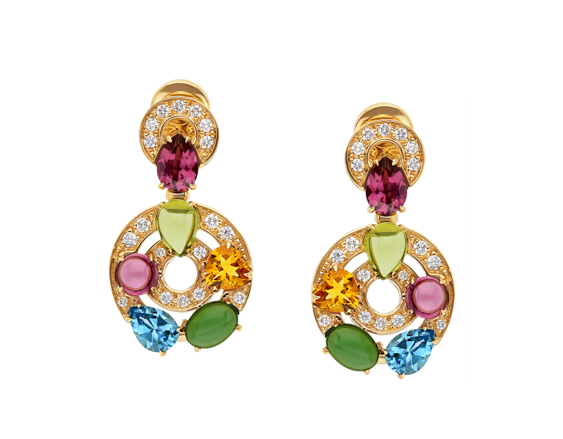 Cerchi 18kt yellow gold earrings set with blue topazes, green tourmalines, peridots, citrine quartz, rhodolite garnets and pavé diamonds 339141 image 1
