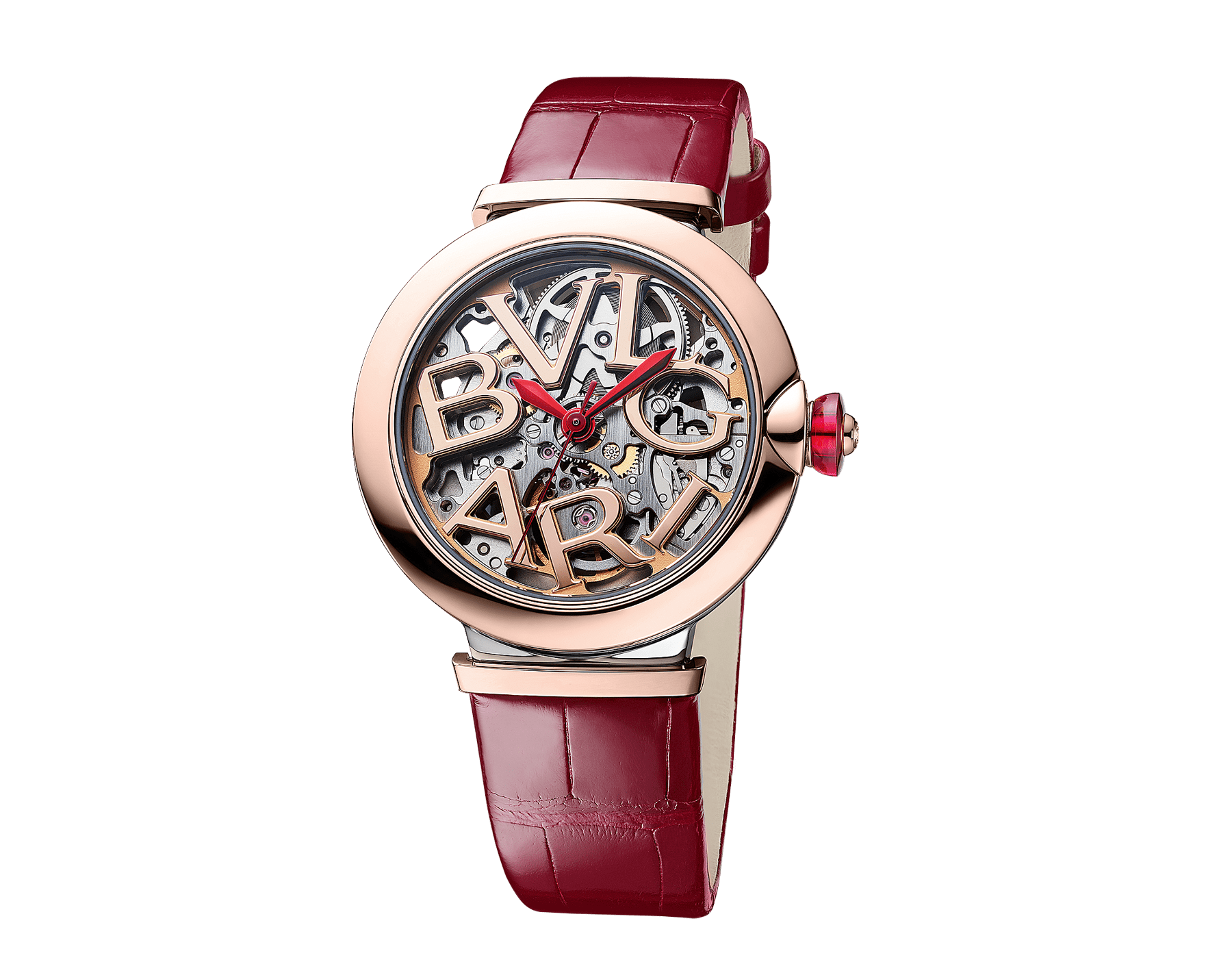 LVCEA Skeleton watch with mechanical manufacture movement, automatic winding and skeleton execution, polished stainless steel case, 18 kt rose gold bezel, openwork BVLGARI logo dial and links, and red alligator bracelet. Water-resistant up to 30 metres. 103373 image 2