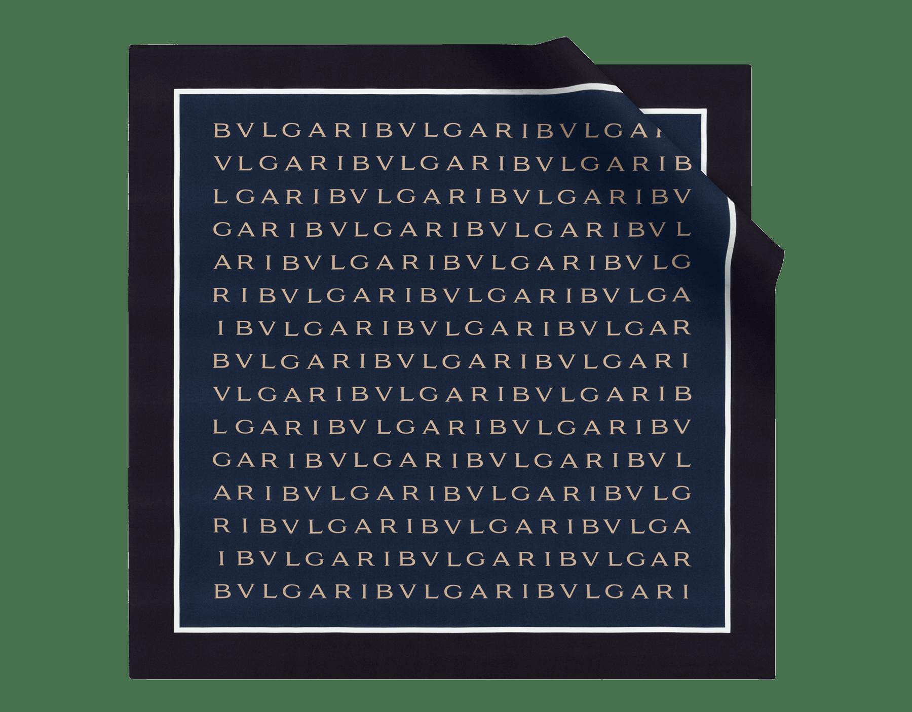 "Foulard ""Logo Double"" blu e bordeaux in pregiato twill di seta. LOGODOUBLE image 1"