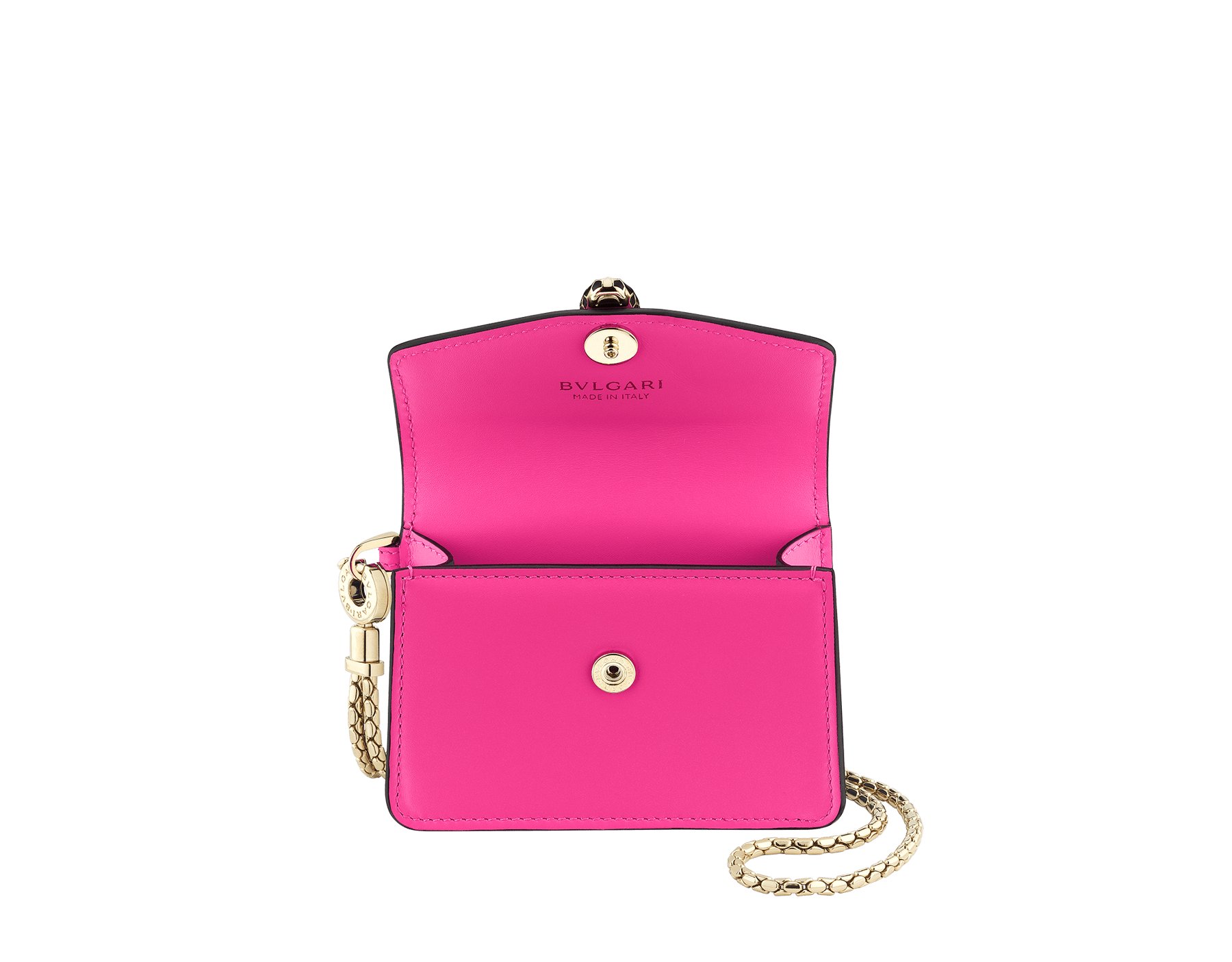 Serpenti Forever neck credit card holder in flash amethyst calf leather. Iconic snake head closure in black and white enamel, with green enamel eyes. 289396 image 2