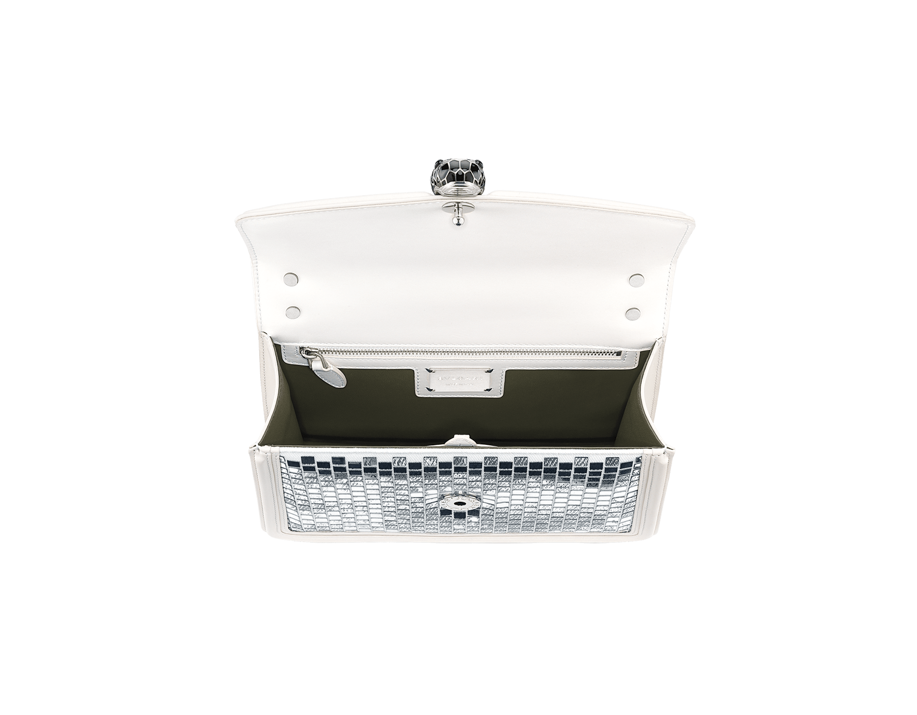 """""""Serpenti Diamond Blast"""" shoulder bag in white agate """"Mosaic Canvas"""" calf leather. Iconic snake head closure in palladium plated brass enriched with matte black and shiny white enamel and black onyx eyes. 289881 image 3"""