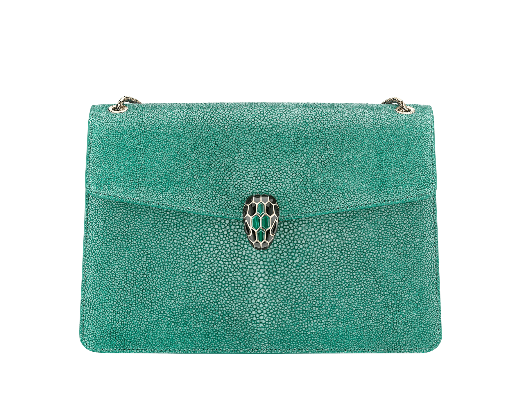 """Serpenti Forever"" shoulder bag in emerald green galuchat skin. Iconic snake head closure in light gold plated brass enriched with black enamel, malachite scales and black onyx eyes. 289026 image 1"