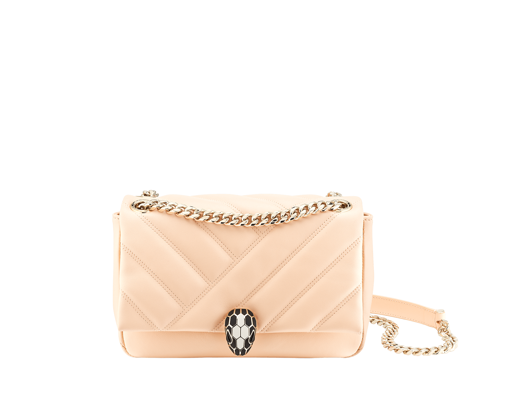 """Serpenti Cabochon"" shoulder bag in soft quilted white agate calf leather, with a graphic motif, and black nappa leather internal lining. Light gold brass plated tempting snakehead closure in matte black and shiny white, with black onyx eyes. 1094-NSM image 1"
