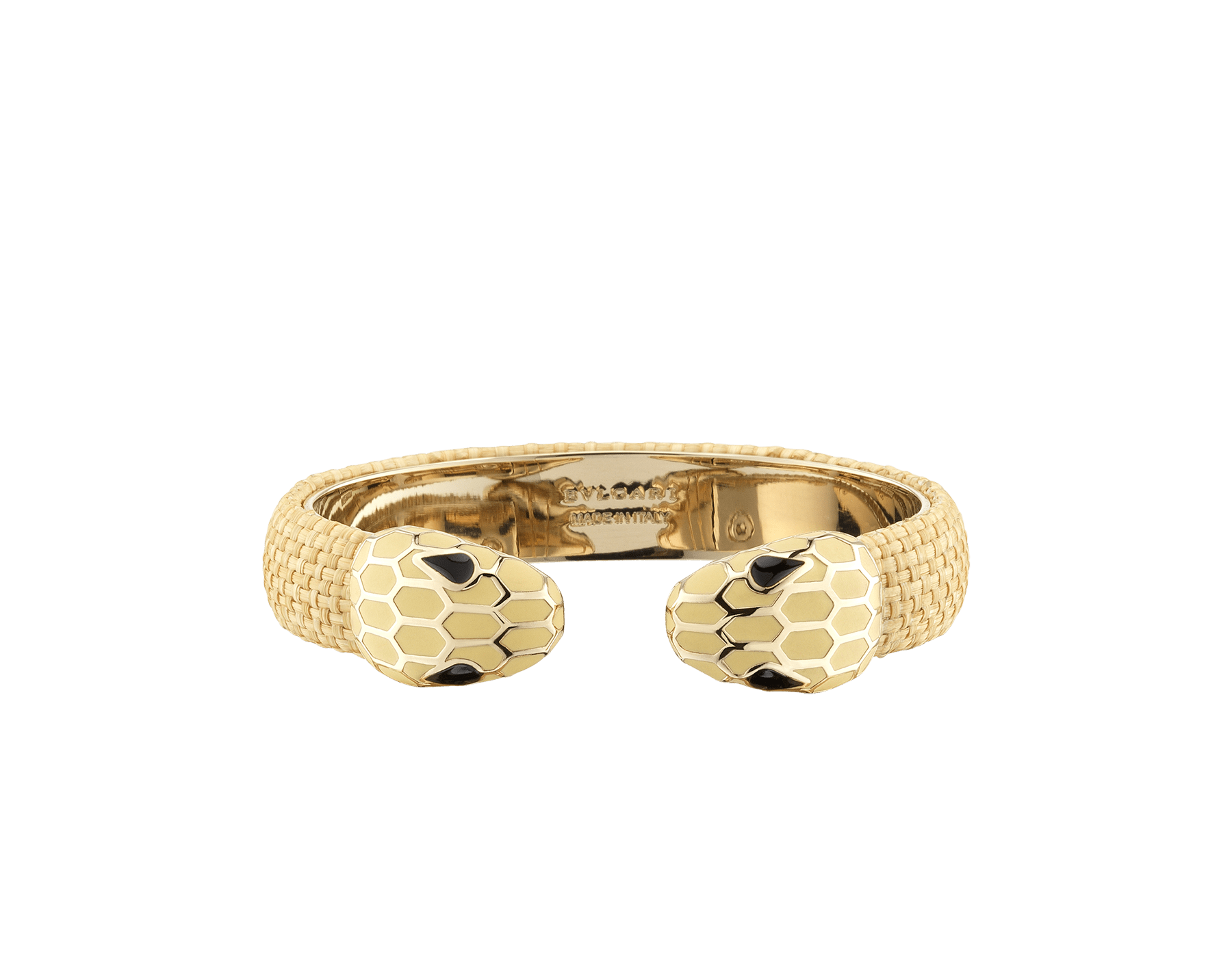 """Serpenti Forever"" bangle bracelet in beige raffia and light gold-plated brass hardware. Perfect to accessorise a day-to-night look, this model features an iconic contraire snakehead décor enamelled in full matte Natural beige and finished with seductive black enamel eyes. SPContr-R-N image 1"