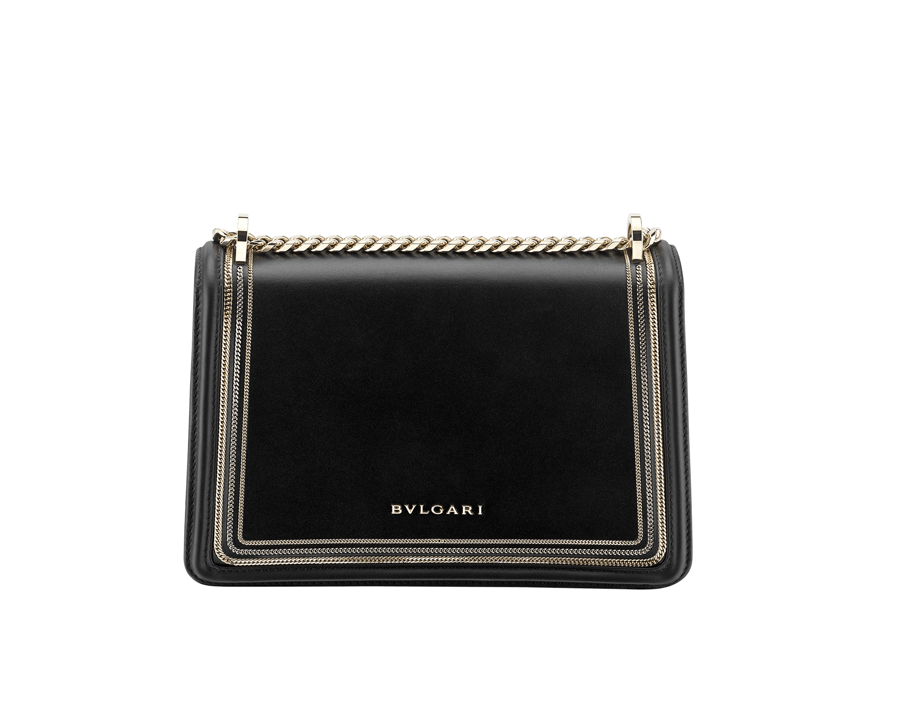 """Serpenti Diamond Blast"" shoulder bag in black smooth calf leather, featuring a 3-Chain motif in light gold and palladium finishing. Iconic snakehead closure in light gold plated brass enriched with black and white enamel and black onyx eyes 922-3CFCL image 3"