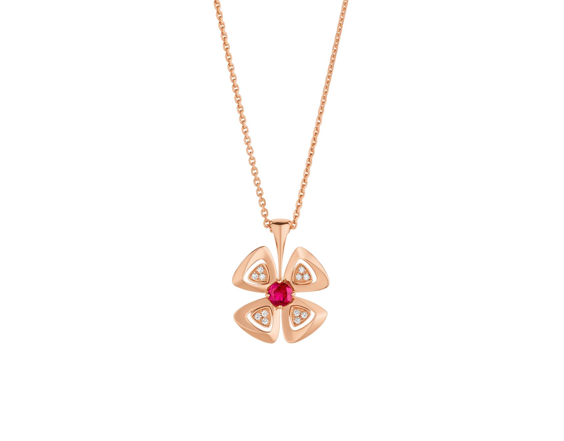 Fiorever 18 kt rose gold pendant necklace set with a central ruby (0.30 ct) and pavé diamonds. Special Edition 357759 image 1