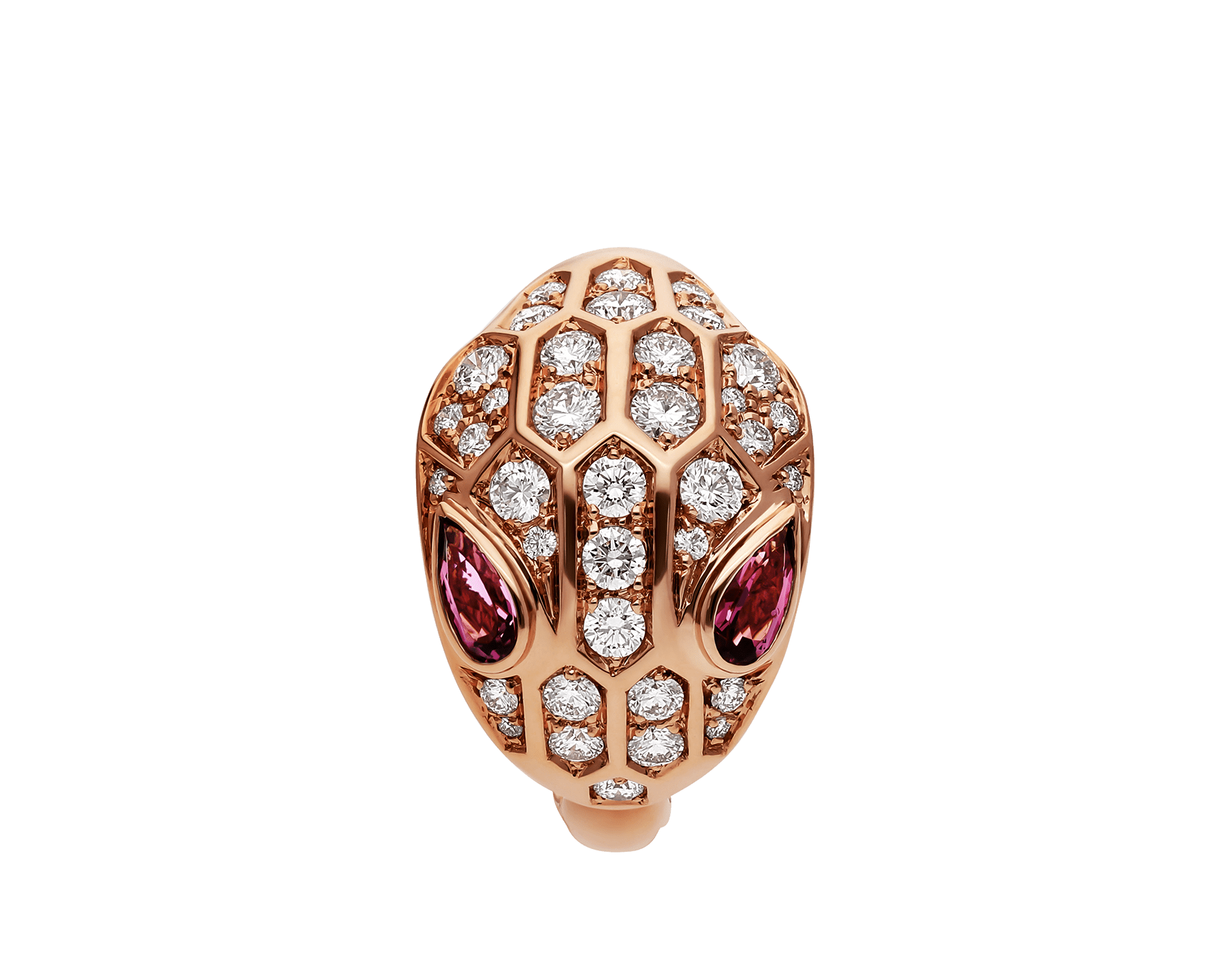 Serpenti ring in 18 kt rose gold, set with rubellite eyes and full pavé diamonds. AN857806 image 2