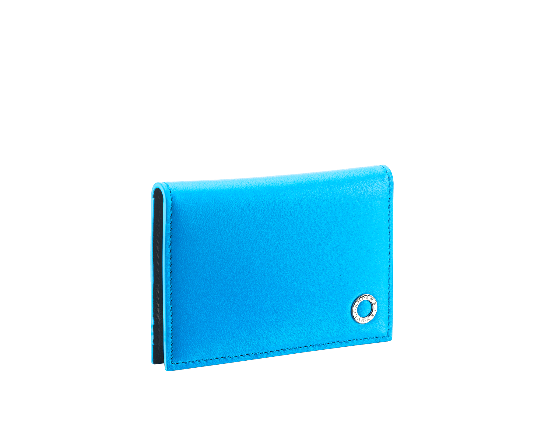 """Ambush x Bvlgari"" vertical card holder in bright blue and black nappa leather, palladium-plated brass ""BVLGARI AMBUSH"" décor on one side and special ""BVLGARI AMBUSH"" logo print on the other. Limited Edition. 290357 image 1"