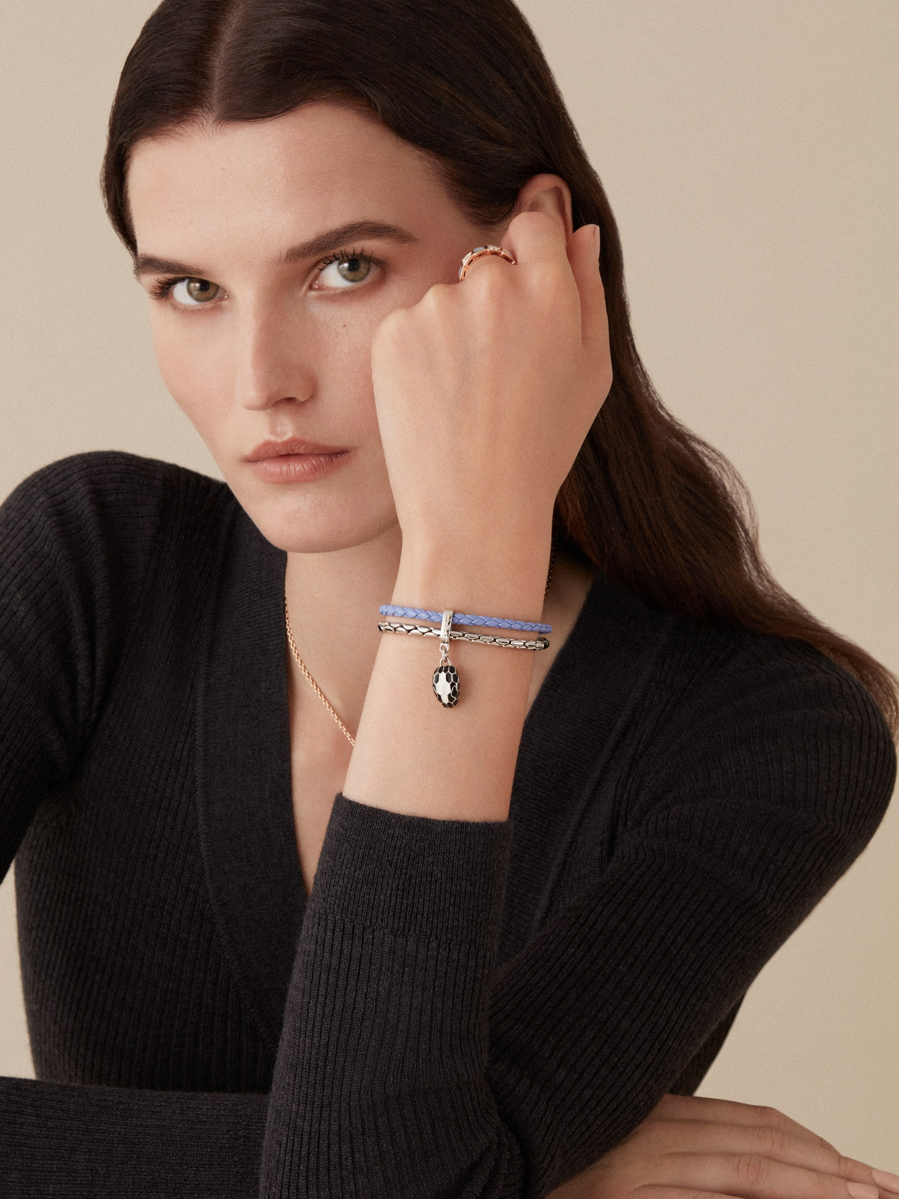 """Serpenti Forever"" bracelet in Lavander Amethyst lilac braided calf leather and palladum plated brass snake body-shaped chain with the iconic snakehead charm in black and white agate enamel, and black enamel eyes with a magnetic clasp closure. SerpBraidChain-WCL-LA image 2"