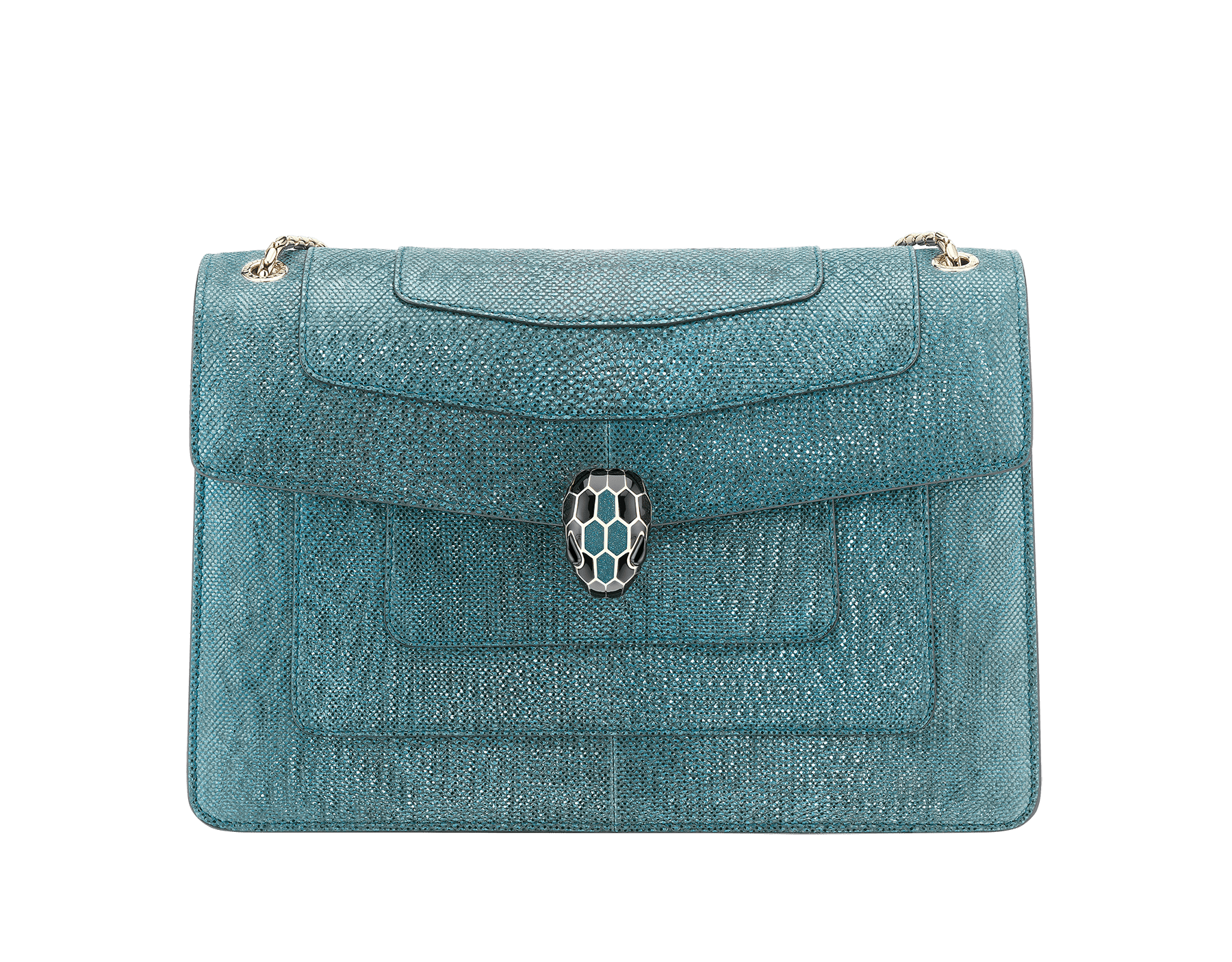 """""""Serpenti Forever"""" shoulder bag in deep jade metallic karung skin. Iconic snakehead closure in light gold plated brass enriched with black and glitter deep jade enamel and black onyx eyes. 287940 image 1"""