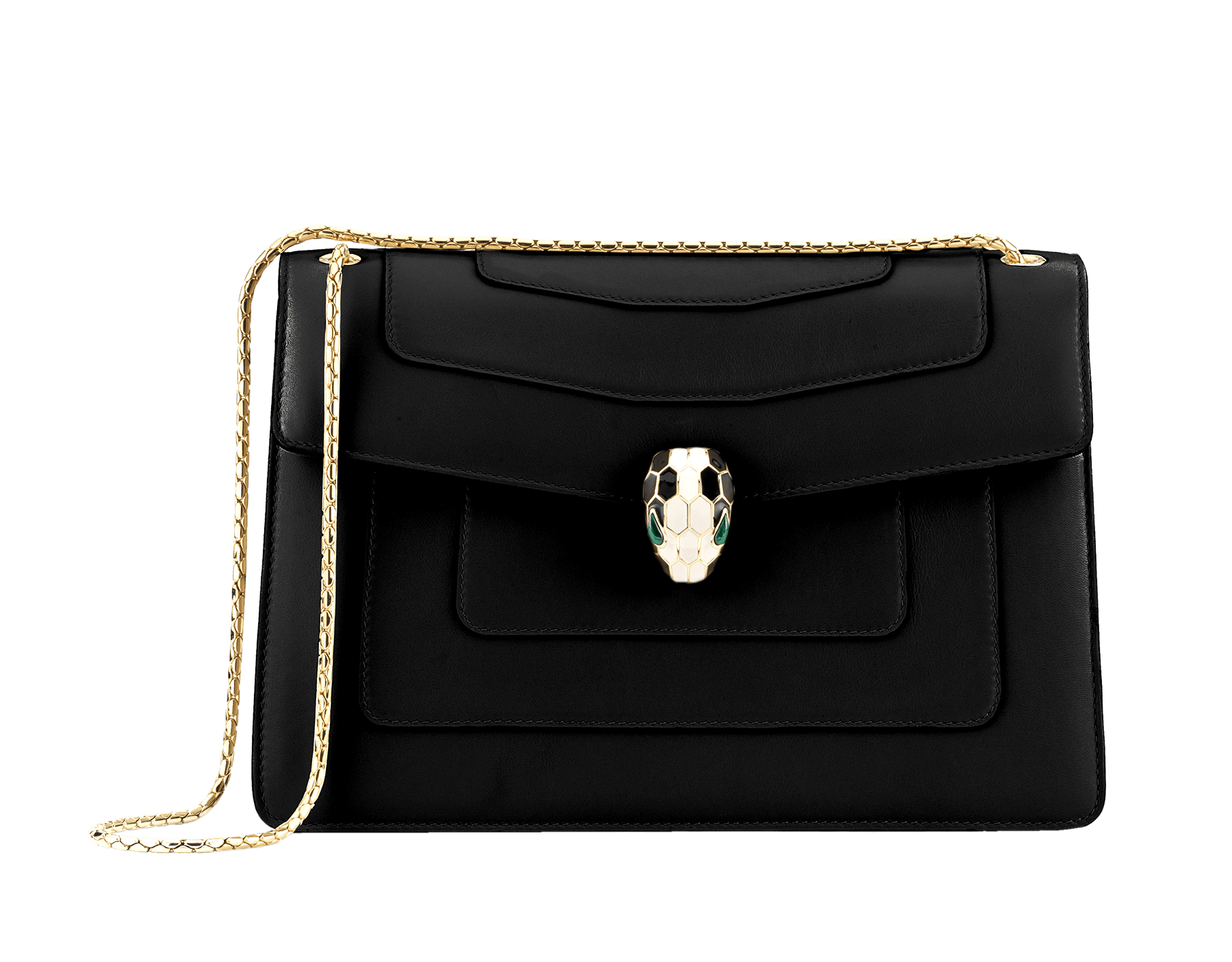Black calf leather shoulder bag with brass light gold plated black and white enamel Serpenti head closure with malachite eyes. 35106 image 1