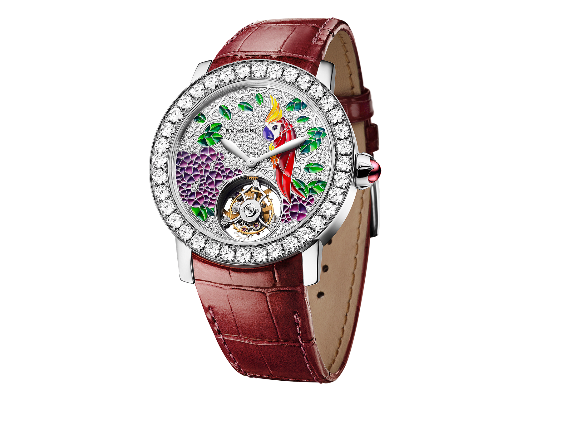 BVLGARI BVLGARI watch with mechanical manufacture movement, automatic winding, see-through tourbillon and sapphire bridge. 18kt white gold case set with brilliant-cut diamonds, demi pavé dial hand-decorated with peinture miniature motifs of a parrot, flowers and leaves, and red alligator bracelet 102405 image 1