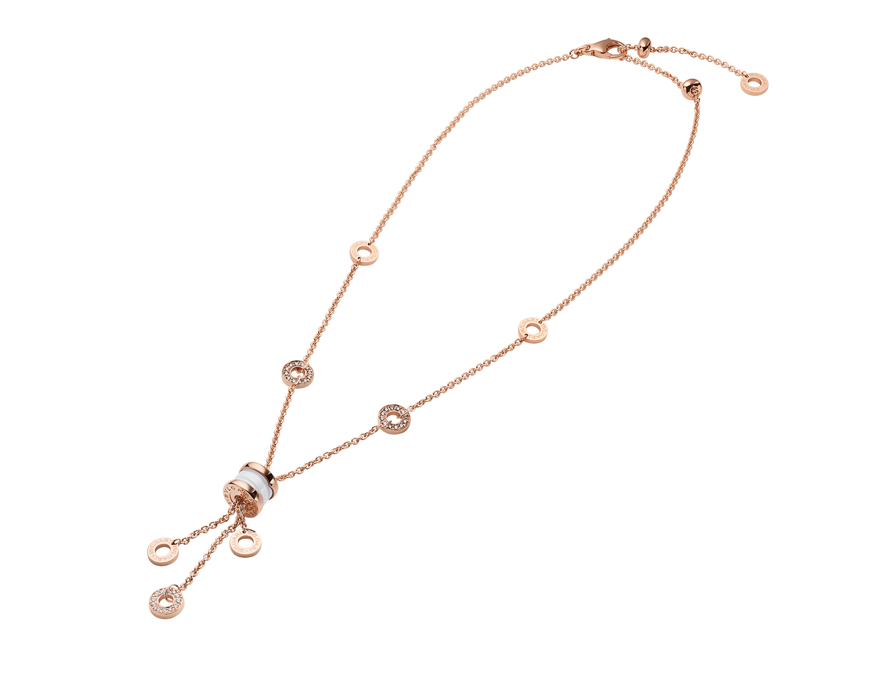 B.zero1 necklace with 18 kt rose gold chain set with pavé diamonds and pendant in 18 kt rose gold and white ceramic. 347577 image 2
