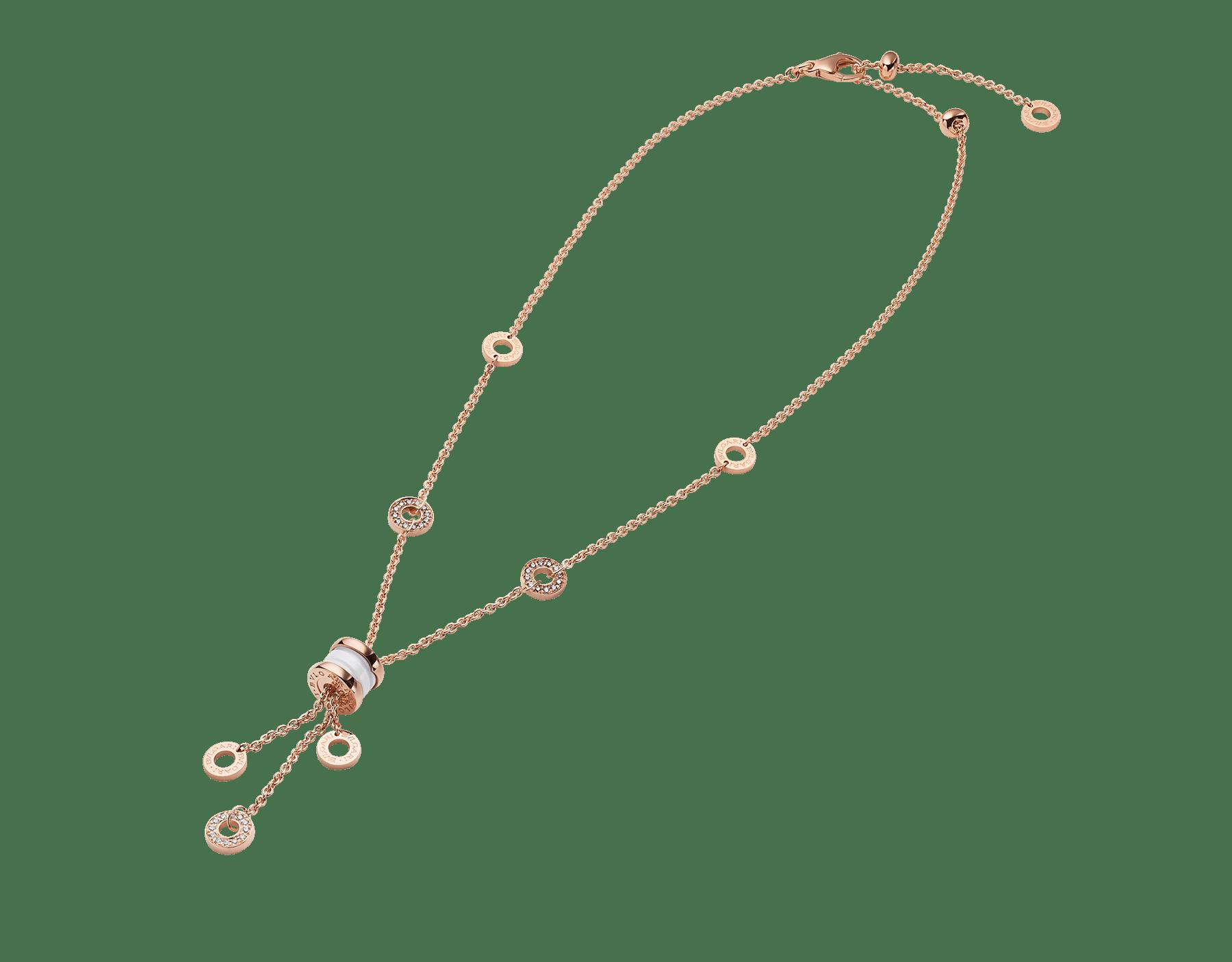 Colar B.zero1 com corrente em ouro rosa 18K cravejada com pavê de diamantes, pingente em ouro rosa 18K e cerâmica branca. 347577 image 2