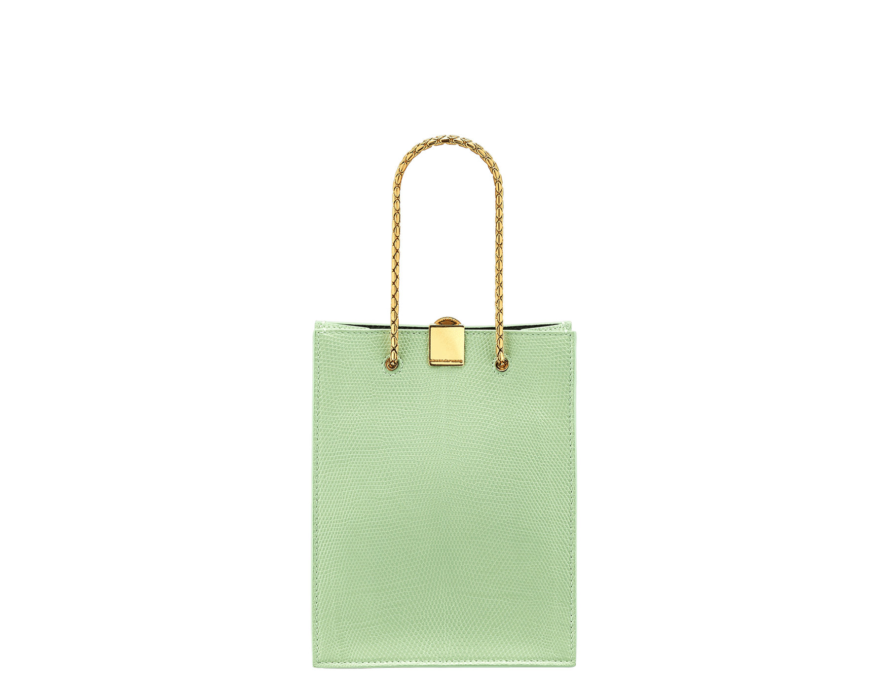 Alexander Wang x Bvlgari mini shopping tote bag in mint lizard skin and black calf leather. New Serpenti head closure in antique gold plated brass with tempting red enamel eyes. Limited edition. 288727 image 3