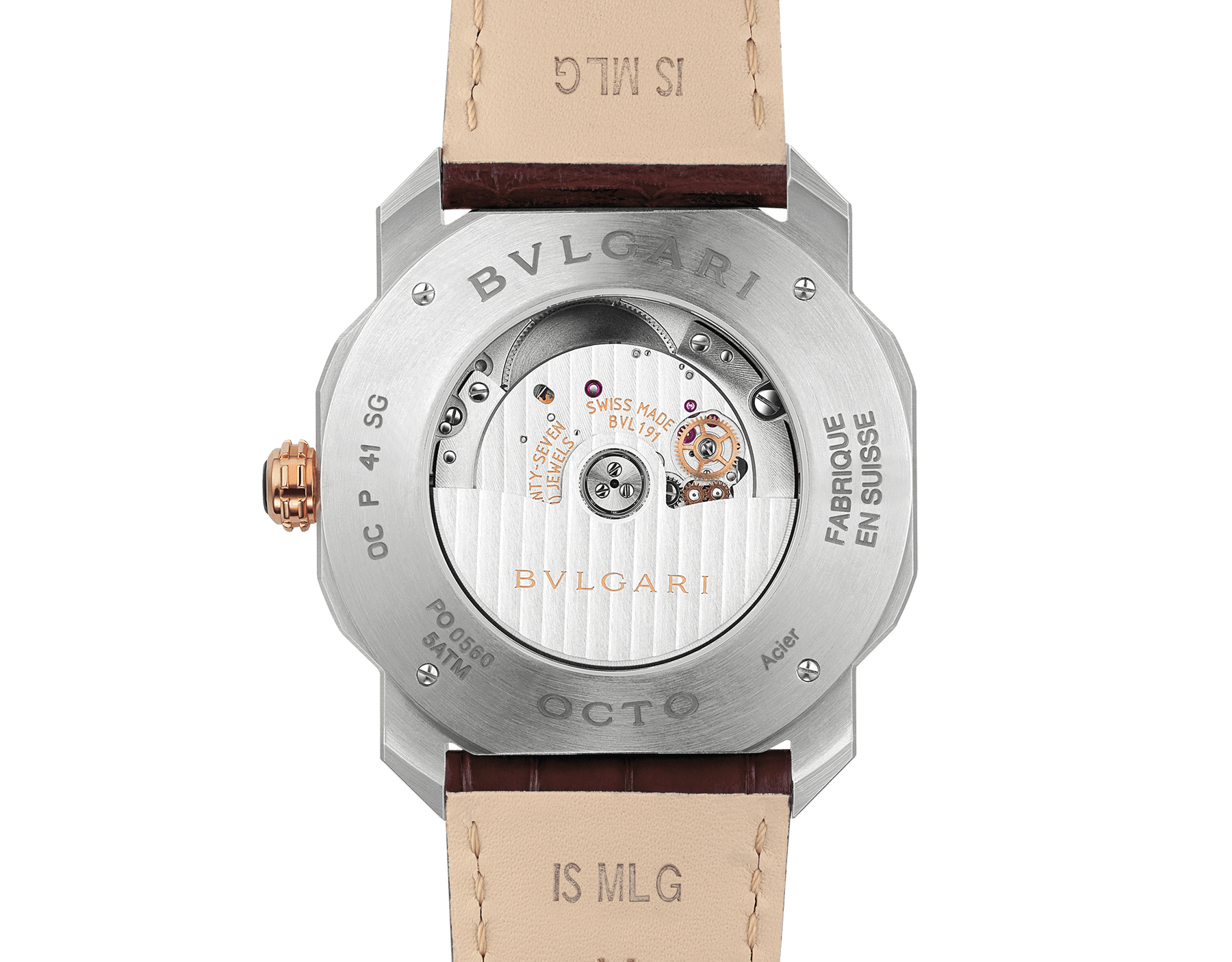 Octo Roma watch with mechanical manufacture movement, automatic winding, case in stainless steel and 18 kt rose gold, silver dial and brown alligator bracelet. 102703 image 4