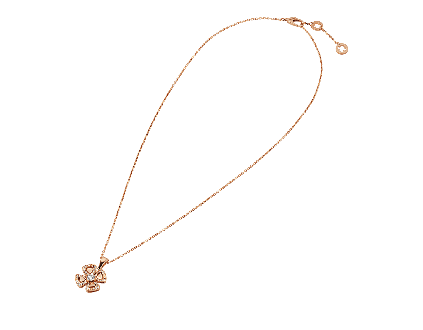 Fiorever 18 kt rose gold necklace set with a central diamond (0.20 ct) and pavé diamonds (0.18 ct) 356223 image 2