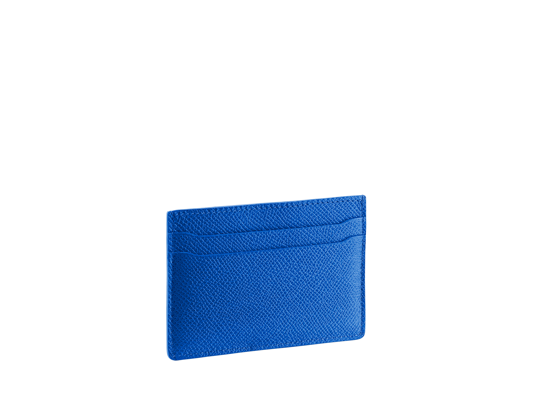 BVLGARI BVLGARI credit card holder in black and cobalt tourmaline grain calf leather and black nappa lining. Iconic logo décor in palladium plated brass. 288600 image 2
