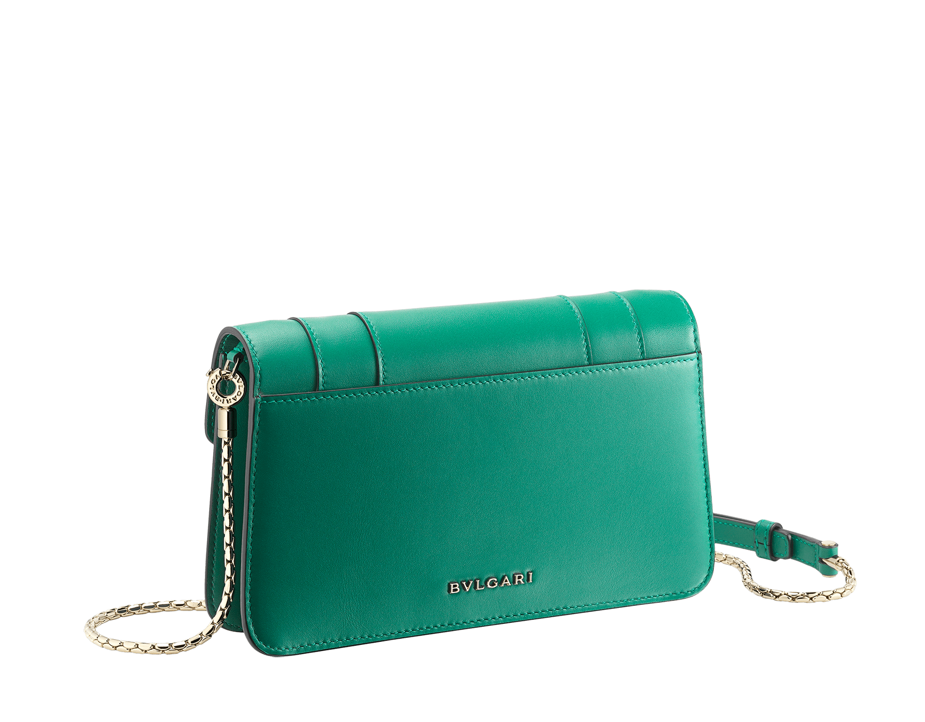 "New ""Serpenti Forever"" chain wallet in soft emerald-green calfskin and black nappa leather. Iconic snakehead closure in light gold-plated brass with black and agate-white enamel and green malachite eyes. SEA-CHAINPOCHETTE-CL image 3"