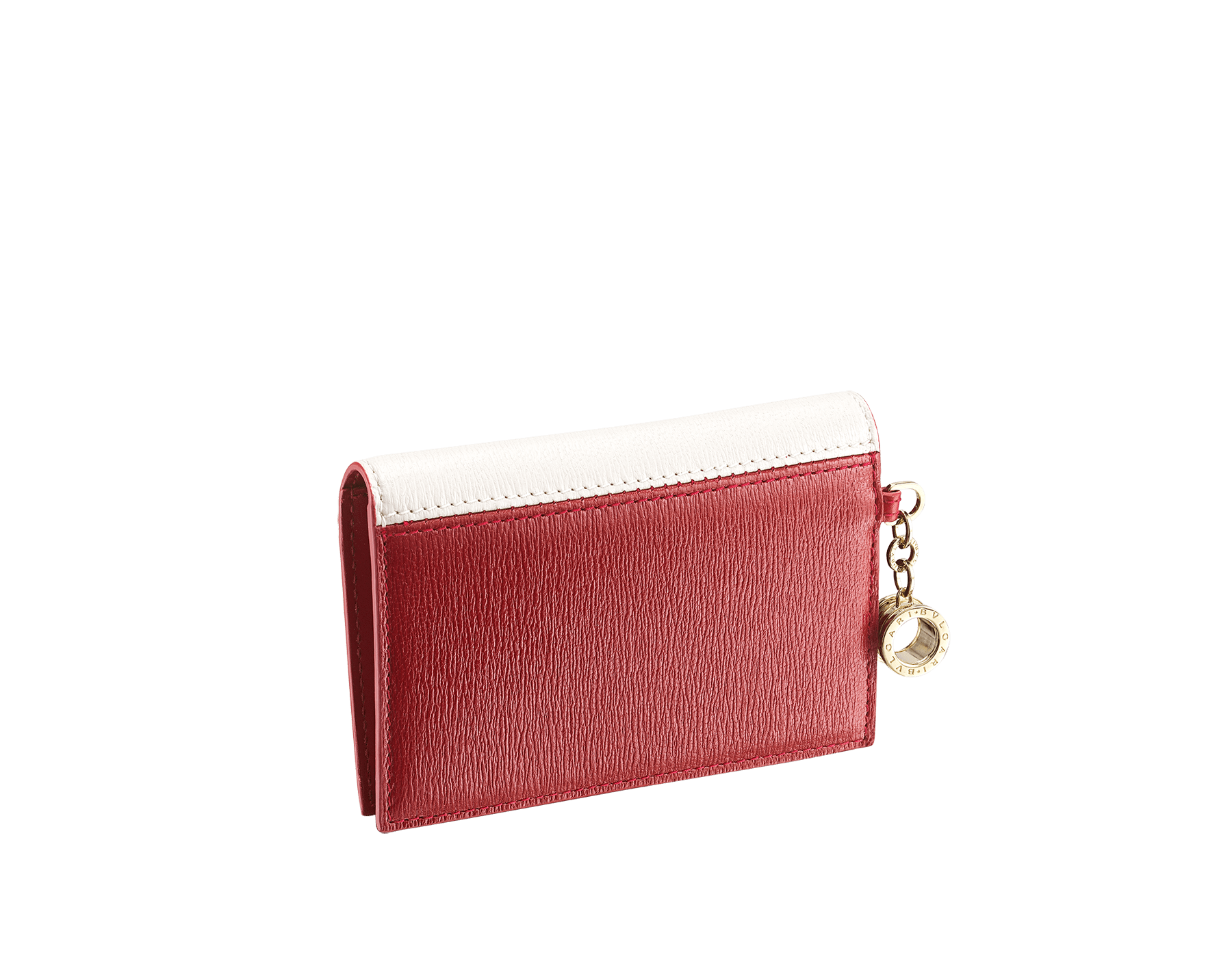 """""""B.zero1"""" folded card holder in white agate and ruby red goatskin and ruby red calf leather. Iconic B.zero1 charm in light gold-plated brass. 290663 image 3"""