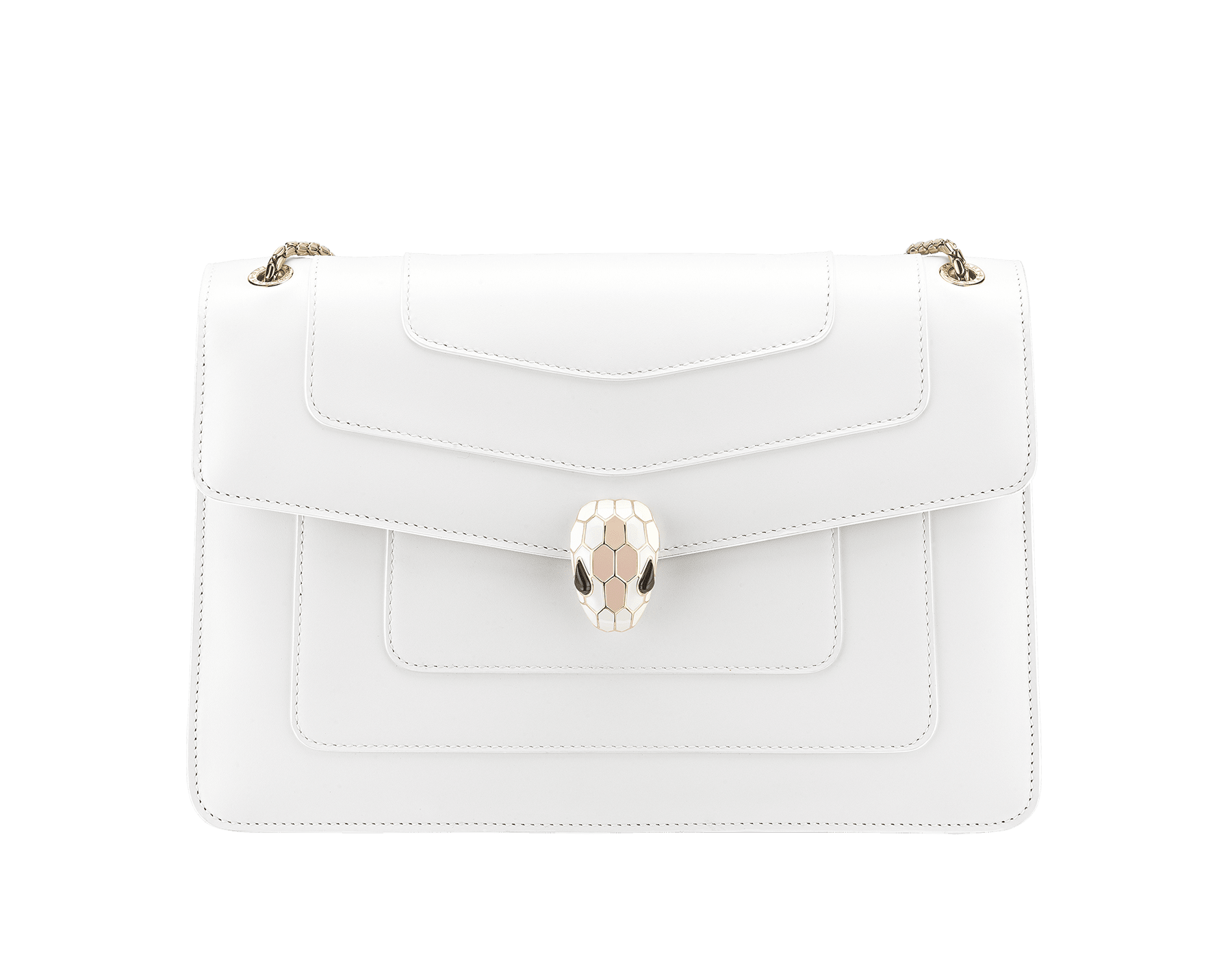 """Serpenti Forever"" shoulder bag in white calf leather body and crystal rose calf leather sides. Iconic snake head closure in light gold-plated brass enriched with white and crystal rose enamel and black onyx eyes. 290196 image 1"