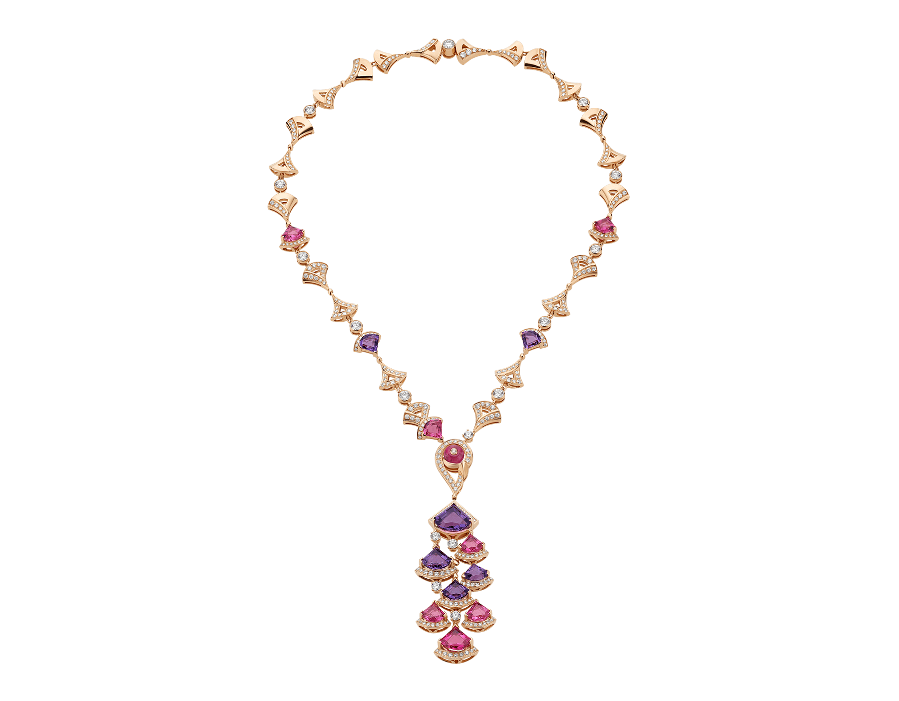 DIVAS' DREAM necklace in 18 kt rose gold set with pink rubellite, amethysts, pink tourmaline (1.50 ct) and pavé diamonds. 354075 image 1