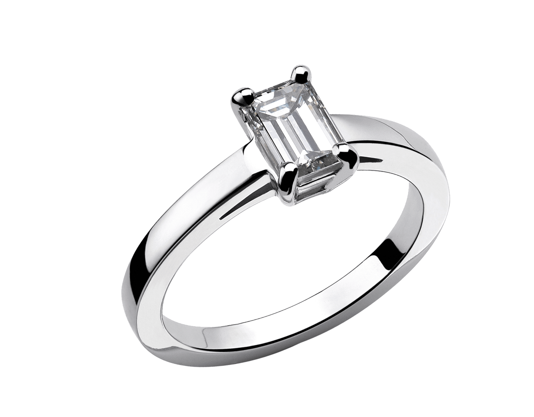Griffe solitaire ring in platinum with emerald cut diamond AN853572 image 1