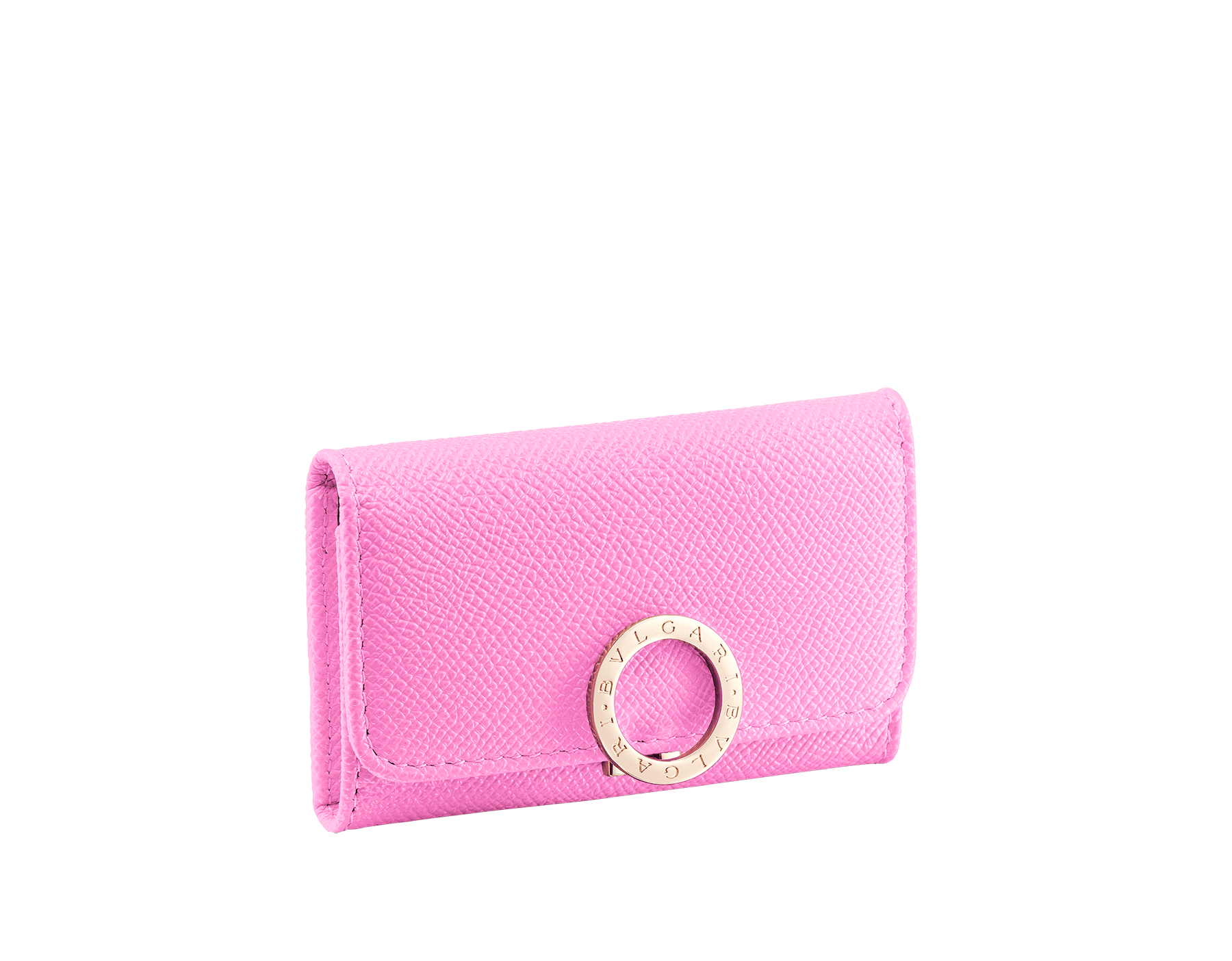 """""""BVLGARI BVLGARI"""" small key holder in mint bright grain calf leather and taffy quartz soft nappa leather. Iconic logo clip closure in light gold plated brass. 579-KEYHOLDER-S-BGCL image 1"""