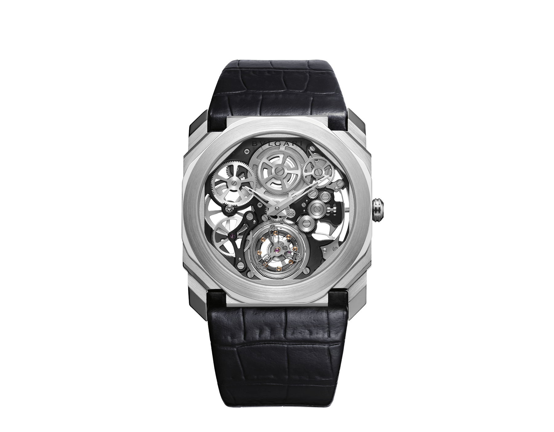 Octo Finissimo Tourbillon Squelette watch with ultra-thin mechanical skeleton movement, manual winding and ball-bearings system, platinum case, transparent dial and black alligator bracelet. 102719 image 1
