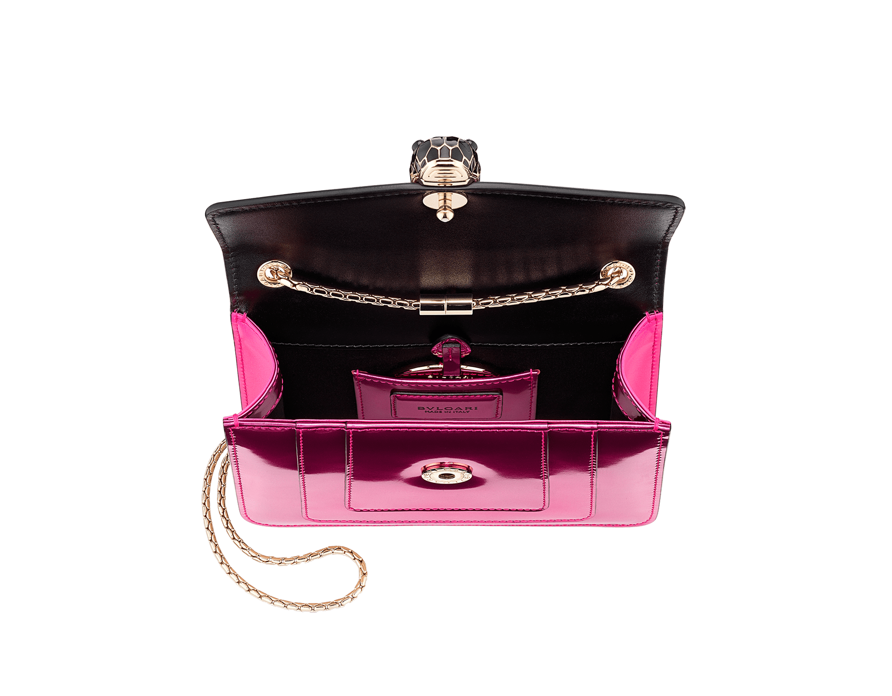 """Serpenti Forever"" crossbody bag in flash amethyst new brushed metallic calf leather. Iconic snake head closure in light gold plated brass enriched with black and flash amethyst enamel and black onyx eyes. 288885 image 4"