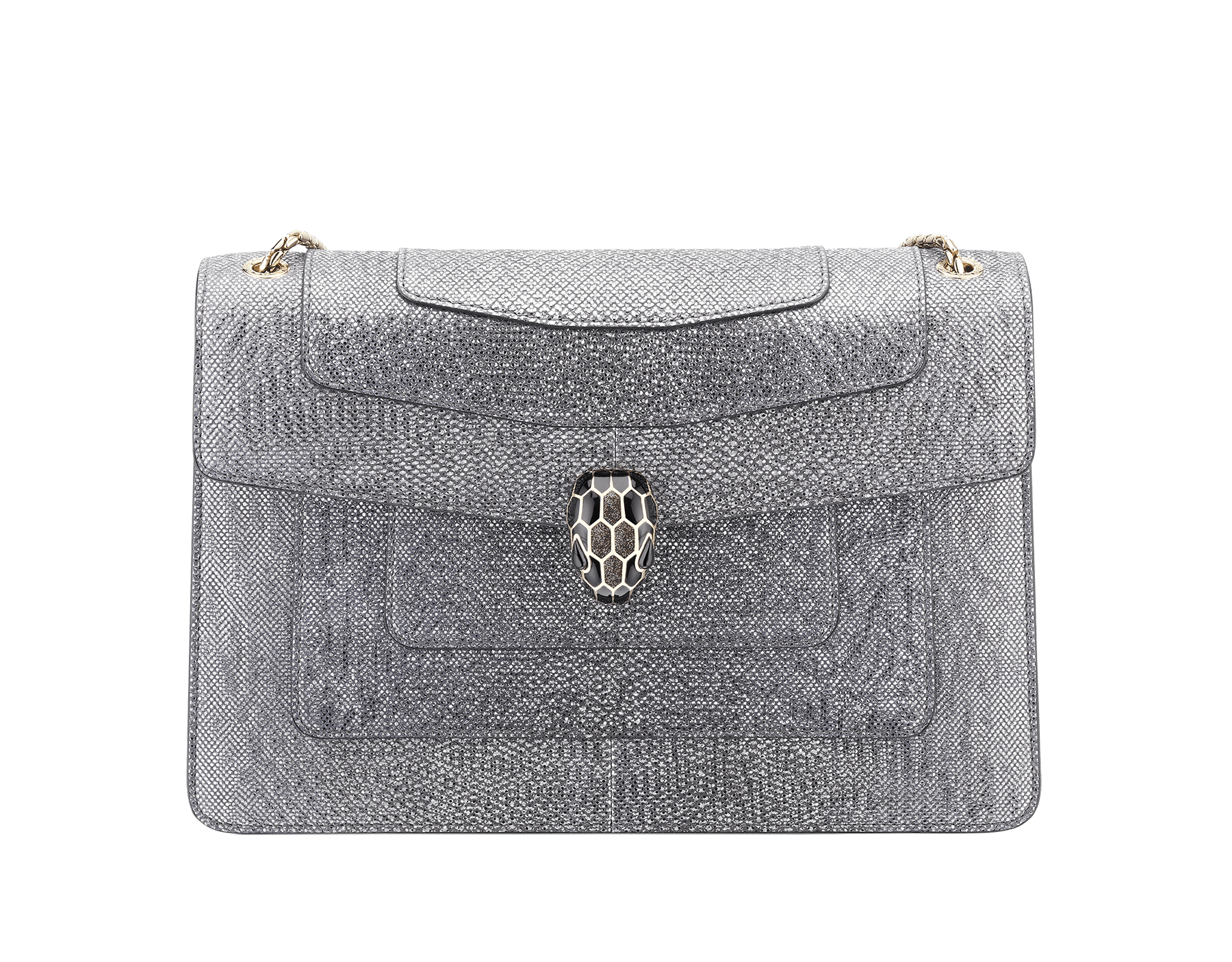 Flap cover bag Serpenti Forever in metallic silver karung skin. Brass light gold plated tempting snake head closure in shiny black and glitter silver enamel, with eyes in black onyx.  521-MK image 1