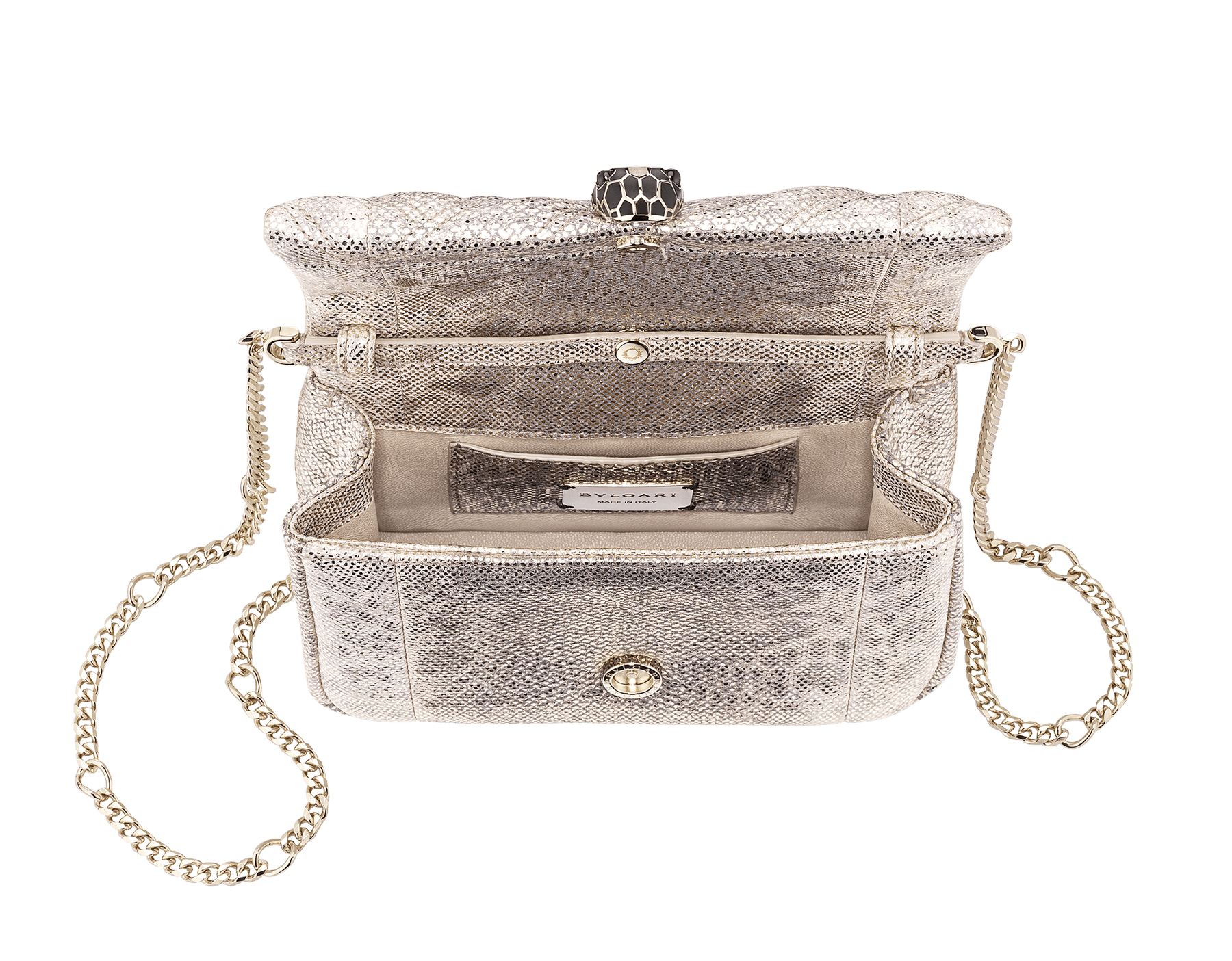 Serpenti Cabochon micro bag in soft matelassé milky opal metallic karung, with a graphic motif. Brass light gold plated tempting snake head closure in black and glitter milky opal enamel and black onyx eyes. 288807 image 4