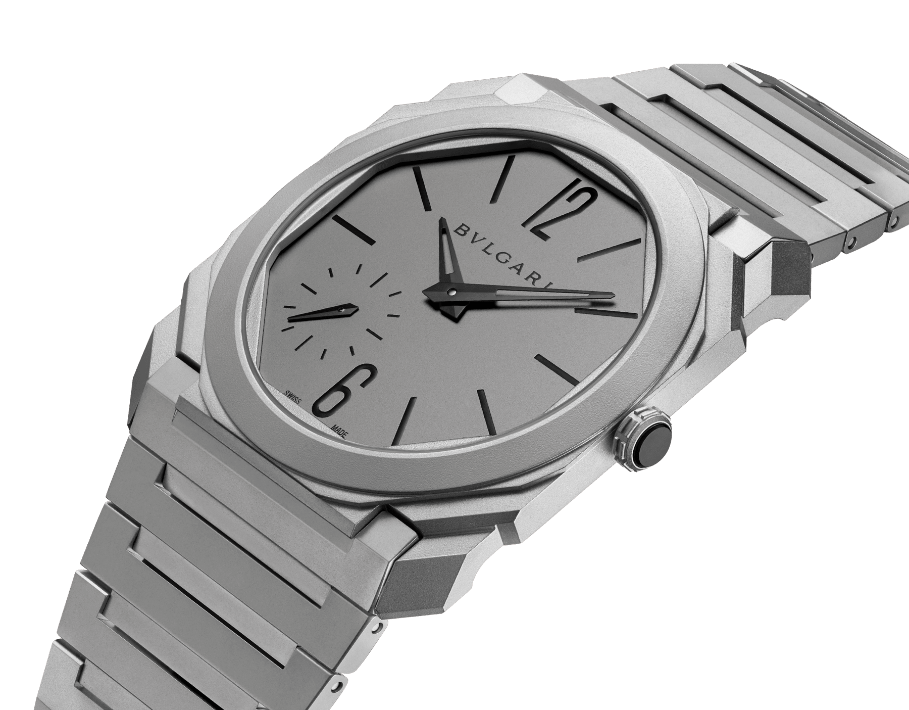 Octo Finissimo Automatic watch in titanium case and bracelet with extra thin mechanical manufacture movement, automatic winding, small seconds and titanium dial. 102713 image 2