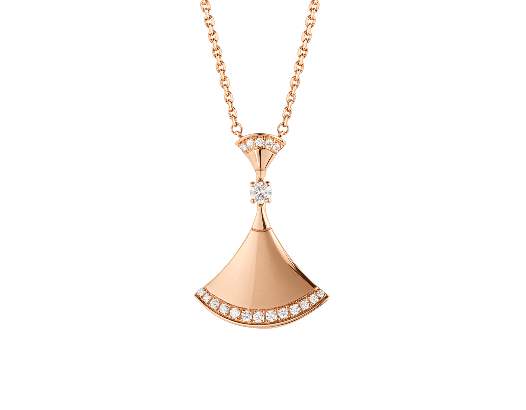 DIVAS' DREAM necklace in 18 kt rose gold with pendant set with one diamond and pavé diamonds. 350063 image 1