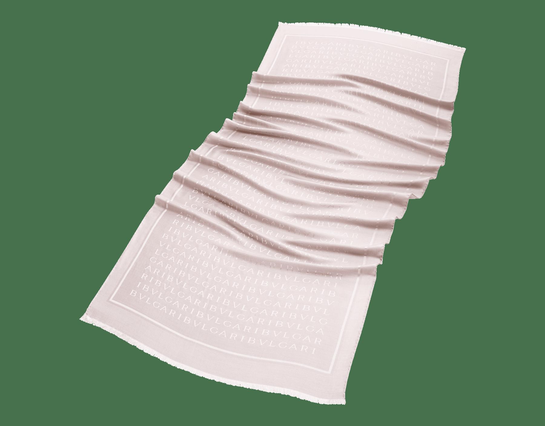 Stola Lettere Maxi color perla in pregiato tessuto di seta e lana. 244069 image 2