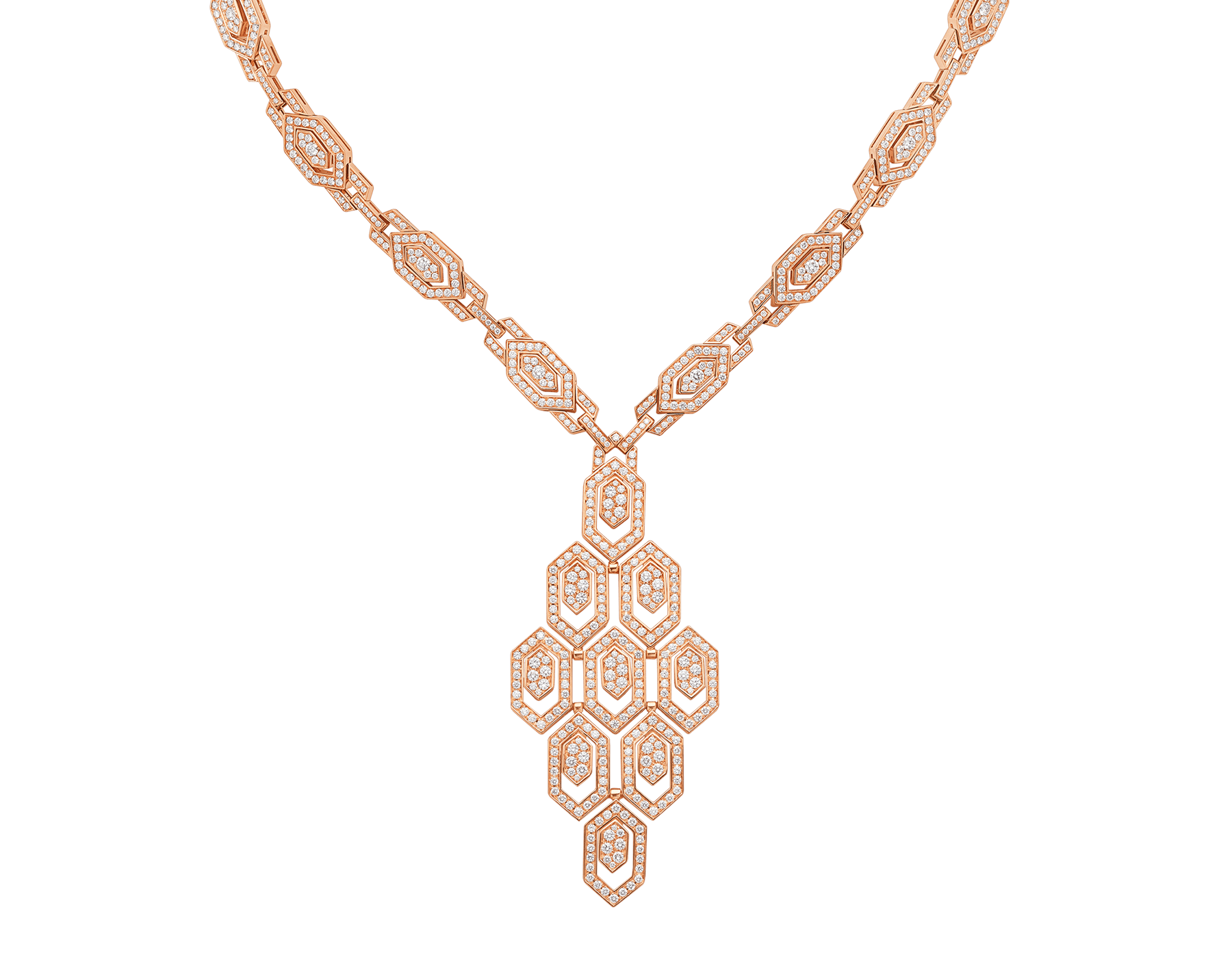 Serpenti 18 kt rose gold necklace set with pavé diamonds both on the chain and pendant. 356194 image 1