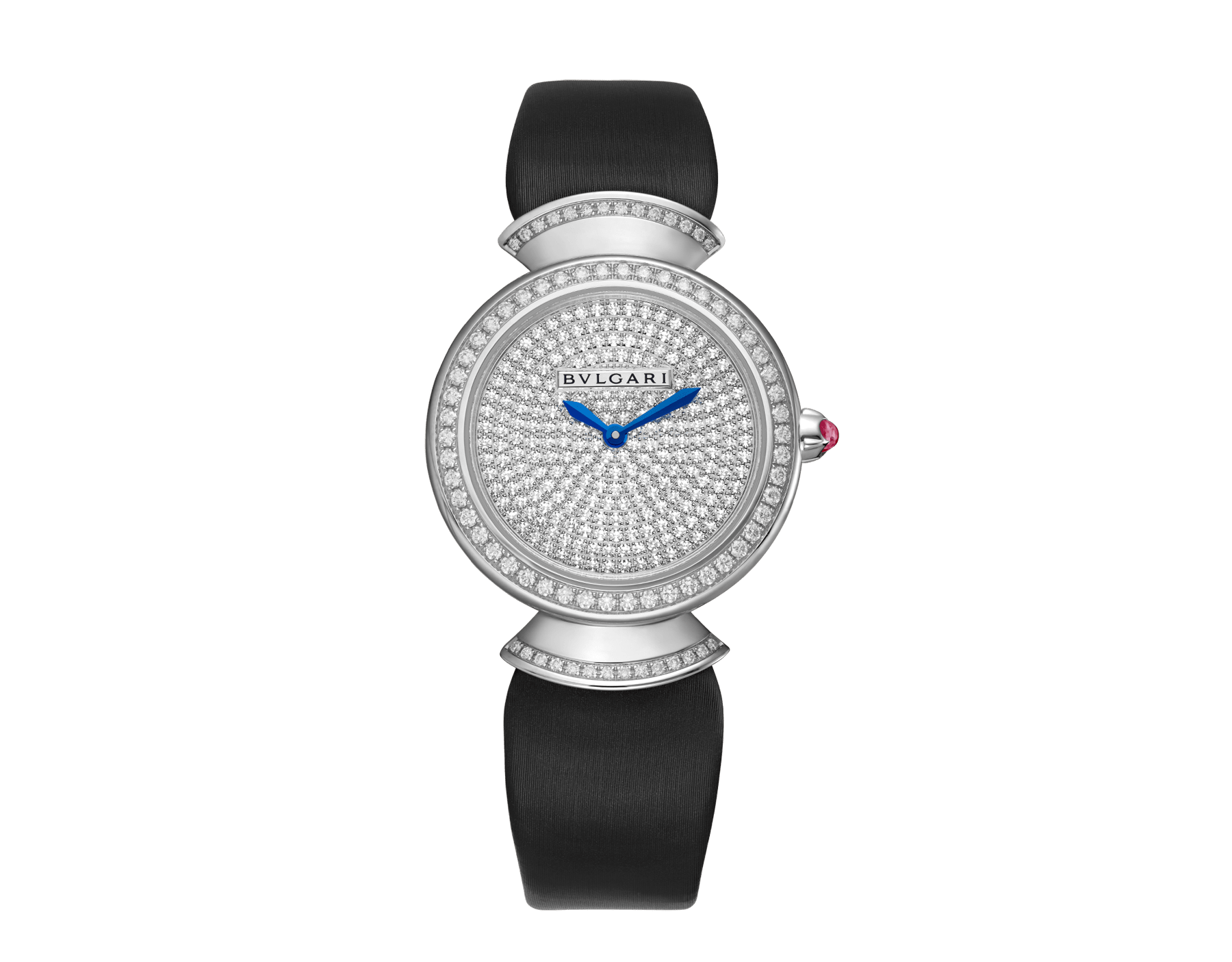 DIVAS' DREAM watch with 18 kt white gold case set with brilliant-cut diamonds, diamond-pavé dial and black satin bracelet 102561 image 1