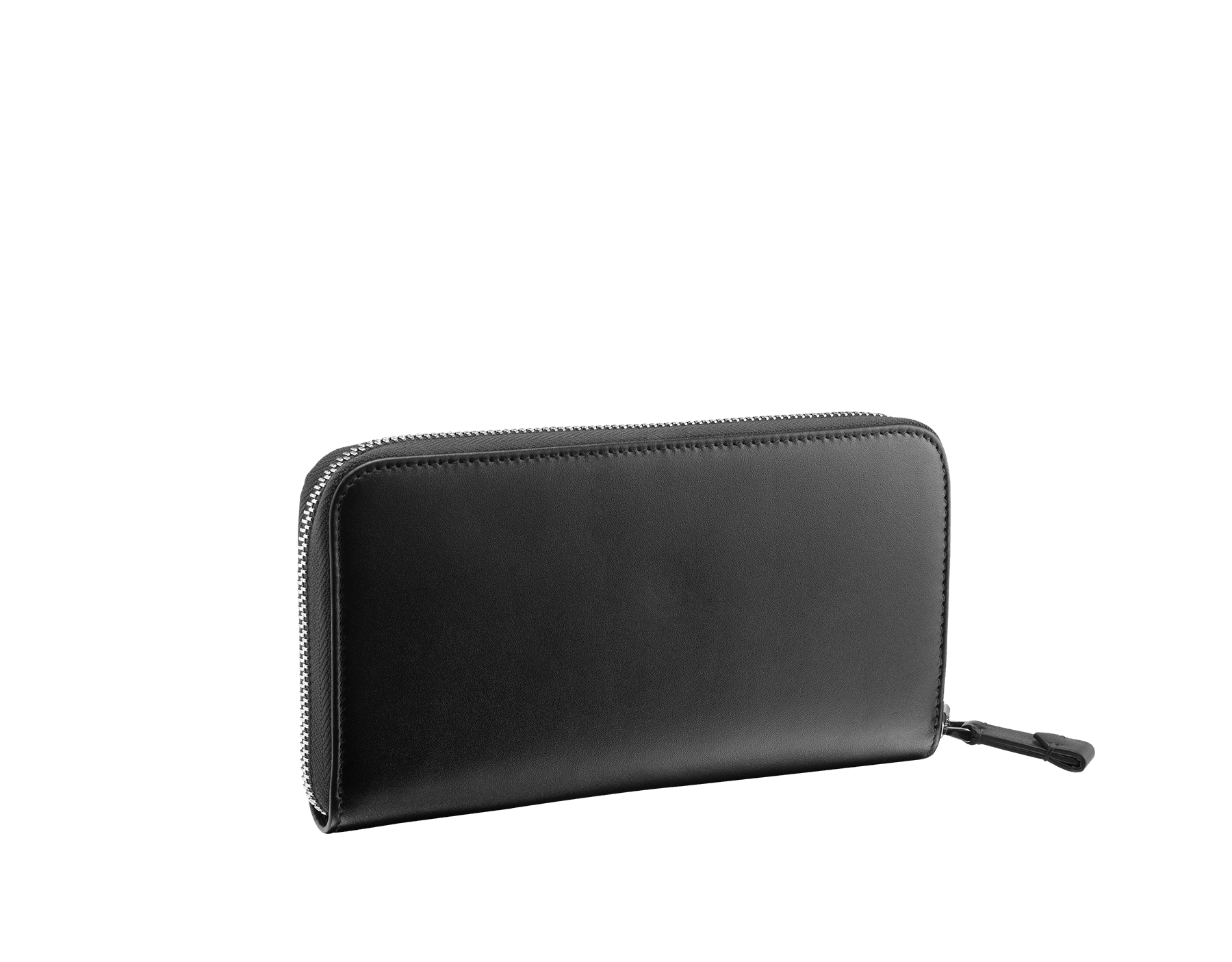 Man zipped wallet in black grazed calf leather and black calf leather. Bulgari logo on iconic Serpenti Scaglie Man metal plate finished in dark ruthenium. 282778 image 3