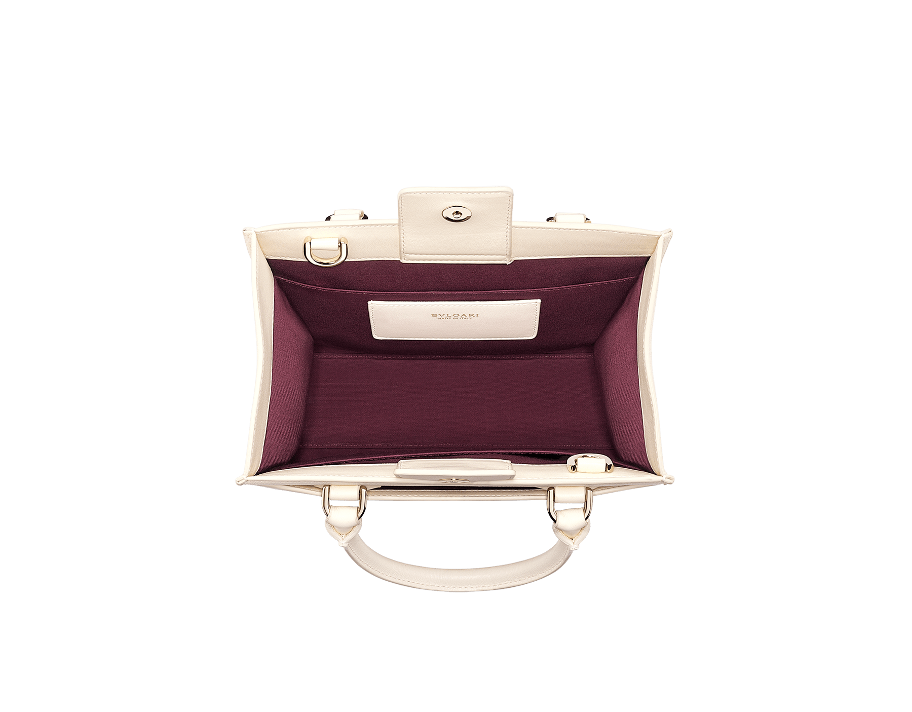 """Bvlgari Logo"" small tote bag in Ivory Opal white calf leather, with Beet Amethyst purple grosgrain inner lining. Bvlgari logo featuring light gold-plated brass chain inserts on the Ivory Opal white calf leather. BVL-1159-CL image 4"