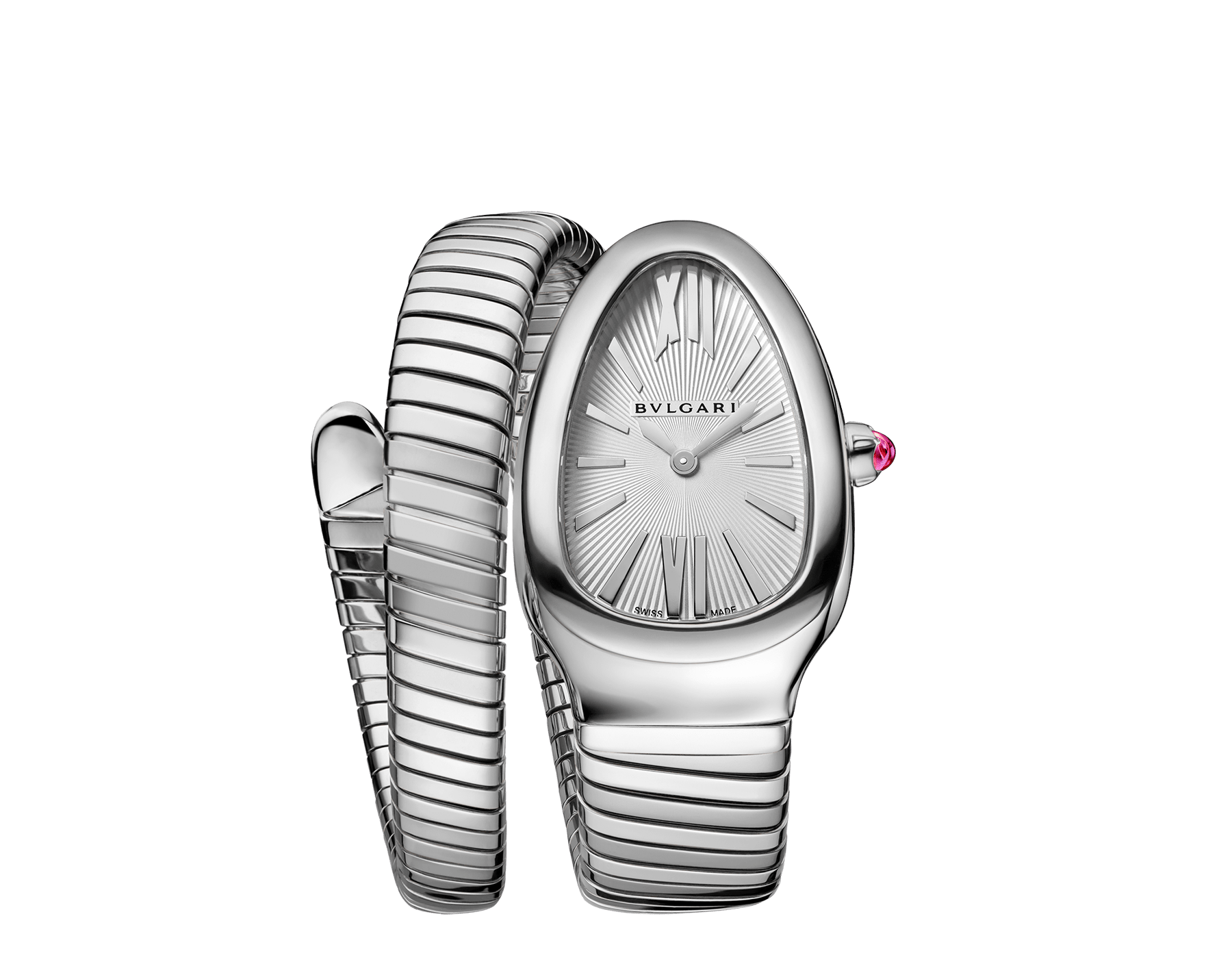 Serpenti Tubogas single spiral watch in stainless steel case and bracelet, with silver opaline dial. Large size. SrpntTubogas-white-dial1 image 1