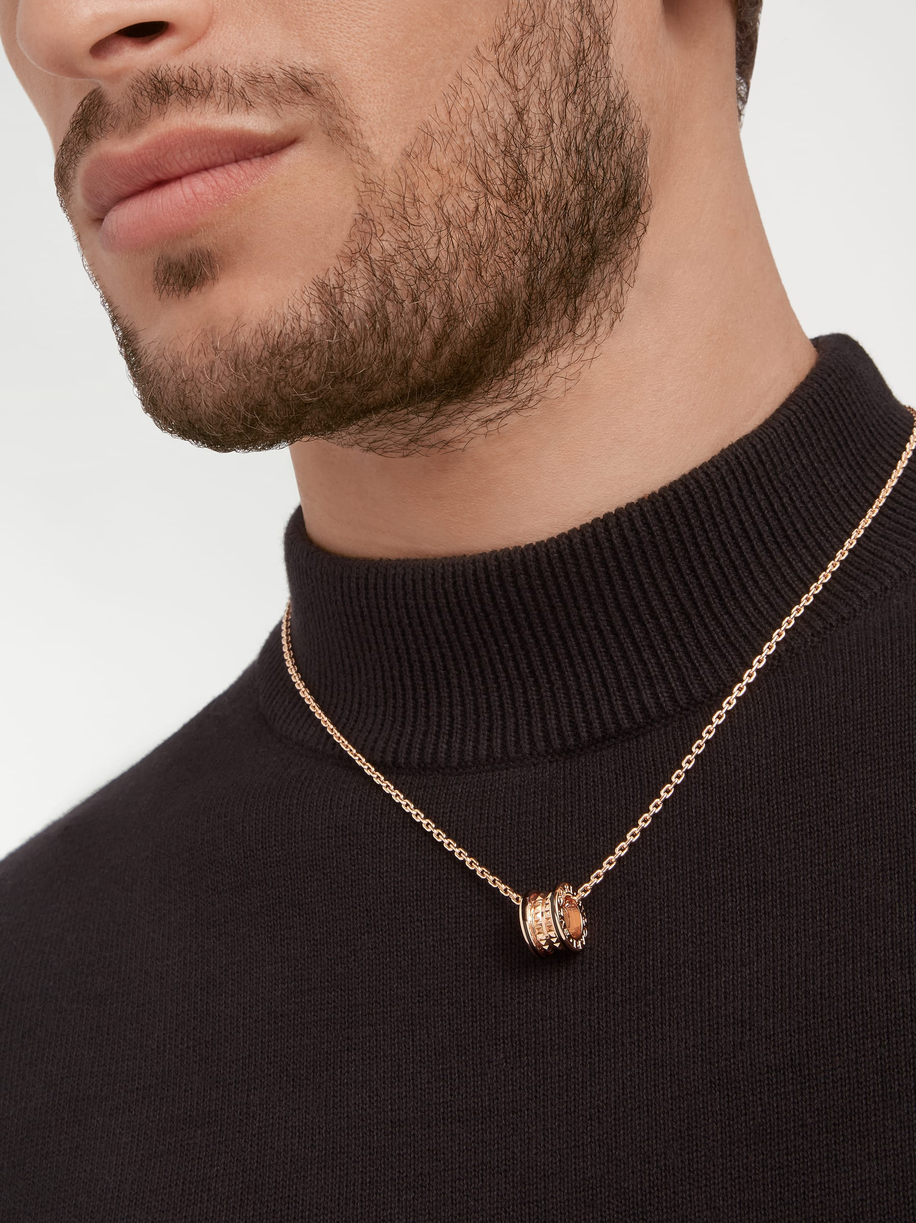 B.zero1 Rock pendant necklace in 18 kt rose gold with studs and black ceramic inserts 358350 image 6
