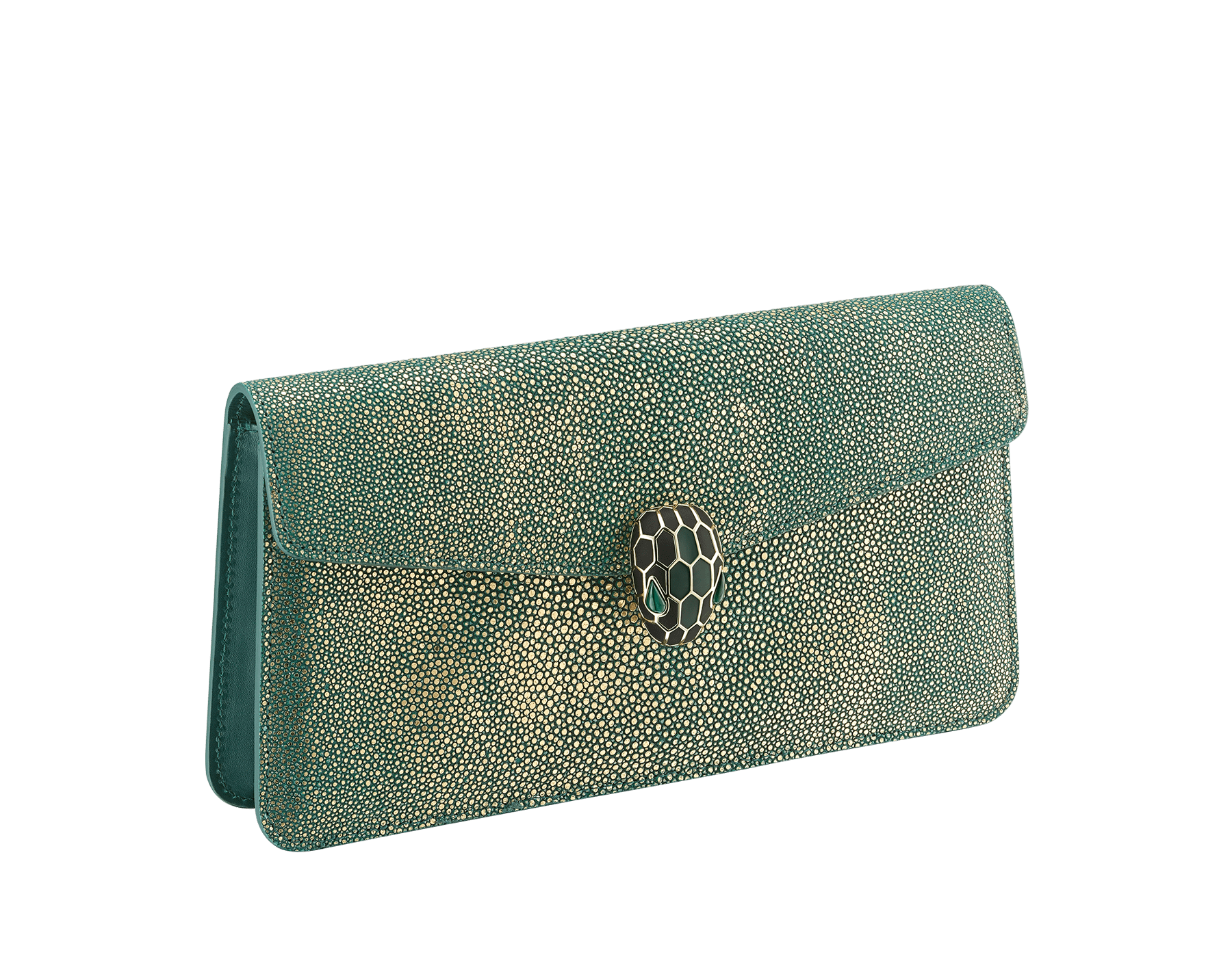 """""""Serpenti Forever"""" shoulder bag in golden emerald crystal galuchat skin. Iconic snake head closure in light gold plated brass enriched with black and forest emerald enamel and green malachite eyes. Special Edition. 486-CG image 2"""