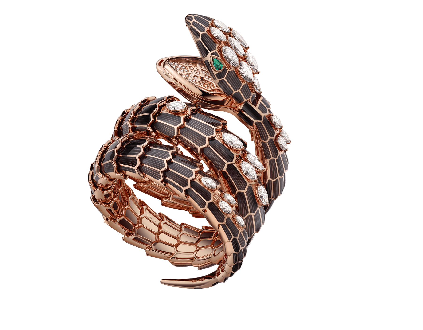 Serpenti Secret Watch with 18 kt rose gold head and double spiral bracelet, both coated with black lacquer and set with marquise cut diamonds, emerald eyes, 18 kt rose gold case and 18 kt rose gold dial set with brilliant cut diamonds. 102526 image 1