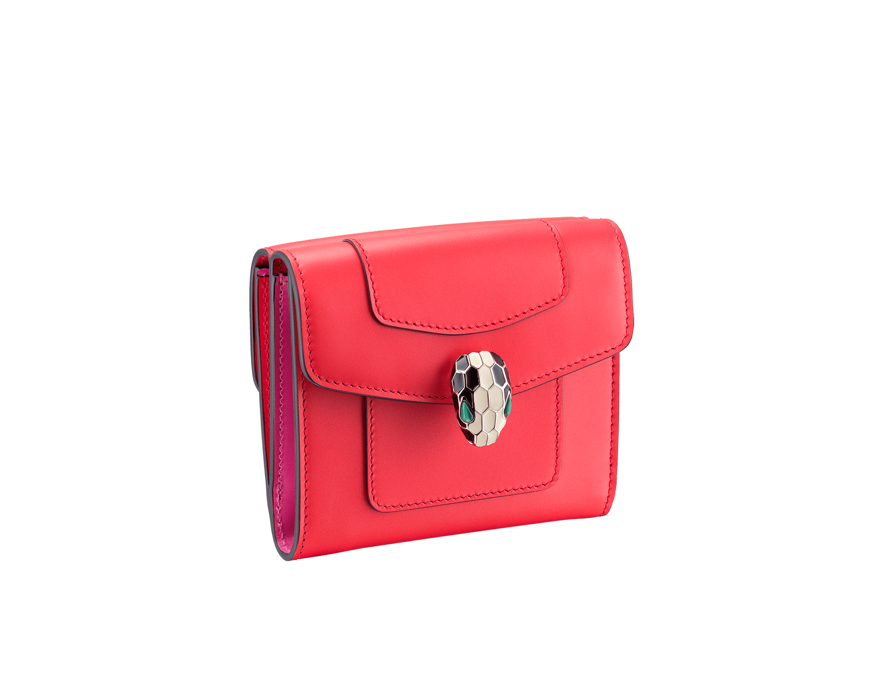Serpenti Forever square compact wallet in sea star coral and pink spinel calf leather. Iconic snakehead charm in black and white enamel with green malachite eyes. 288006 image 1