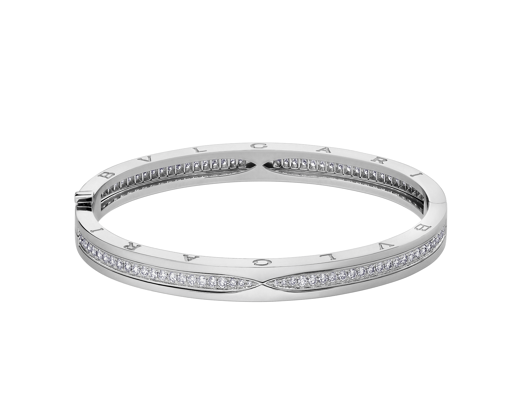 B.zero1 bangle bracelet in 18 kt white gold, set with pavé diamonds on the spiral. BR857483 image 2