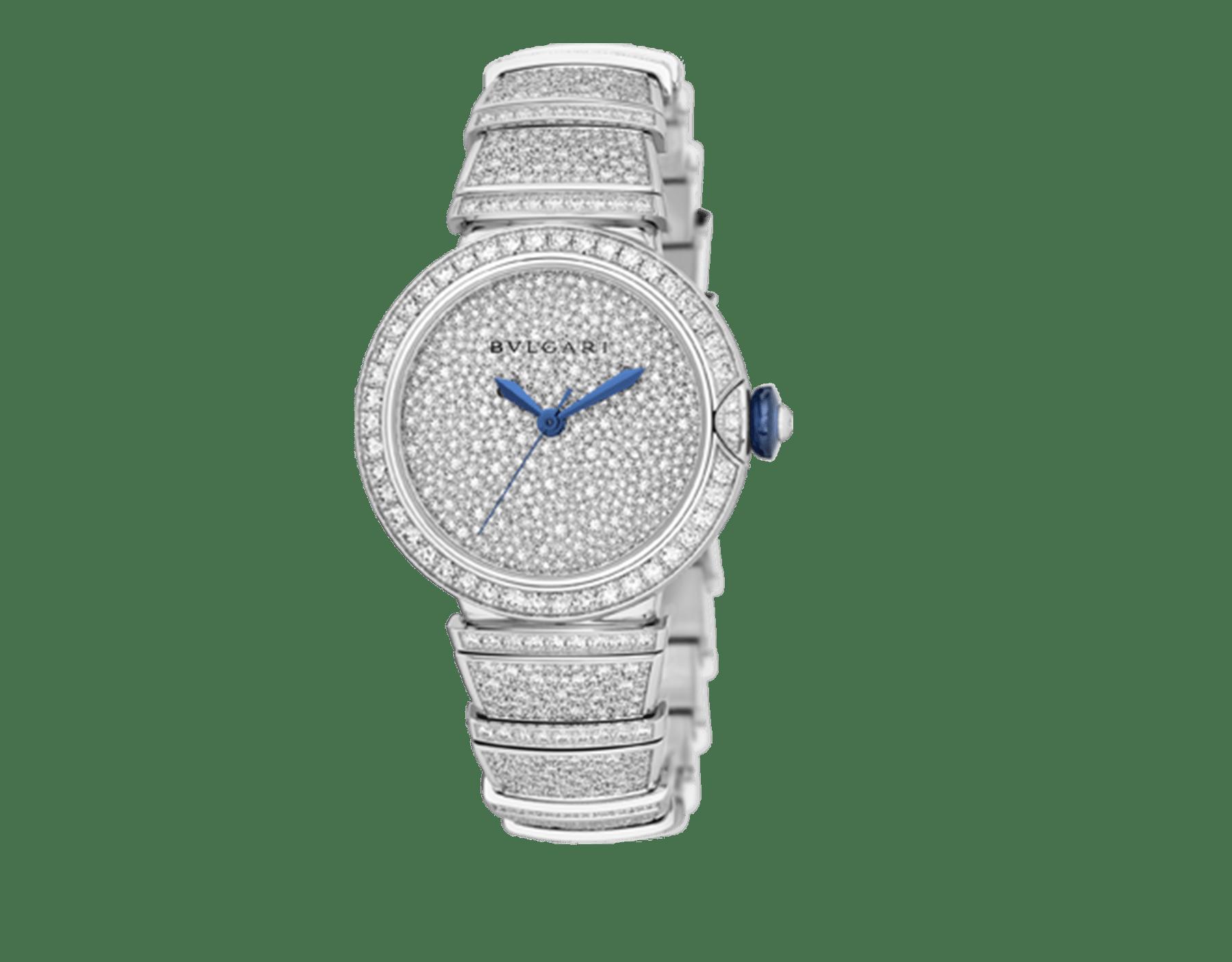 LVCEA Uhr mit Gehäuse und Armband aus 18Karat Weißgold mit Diamanten im Brillantschliff und Zifferblatt voll ausgefasst mit Diamant-Pavé. 102365 image 2